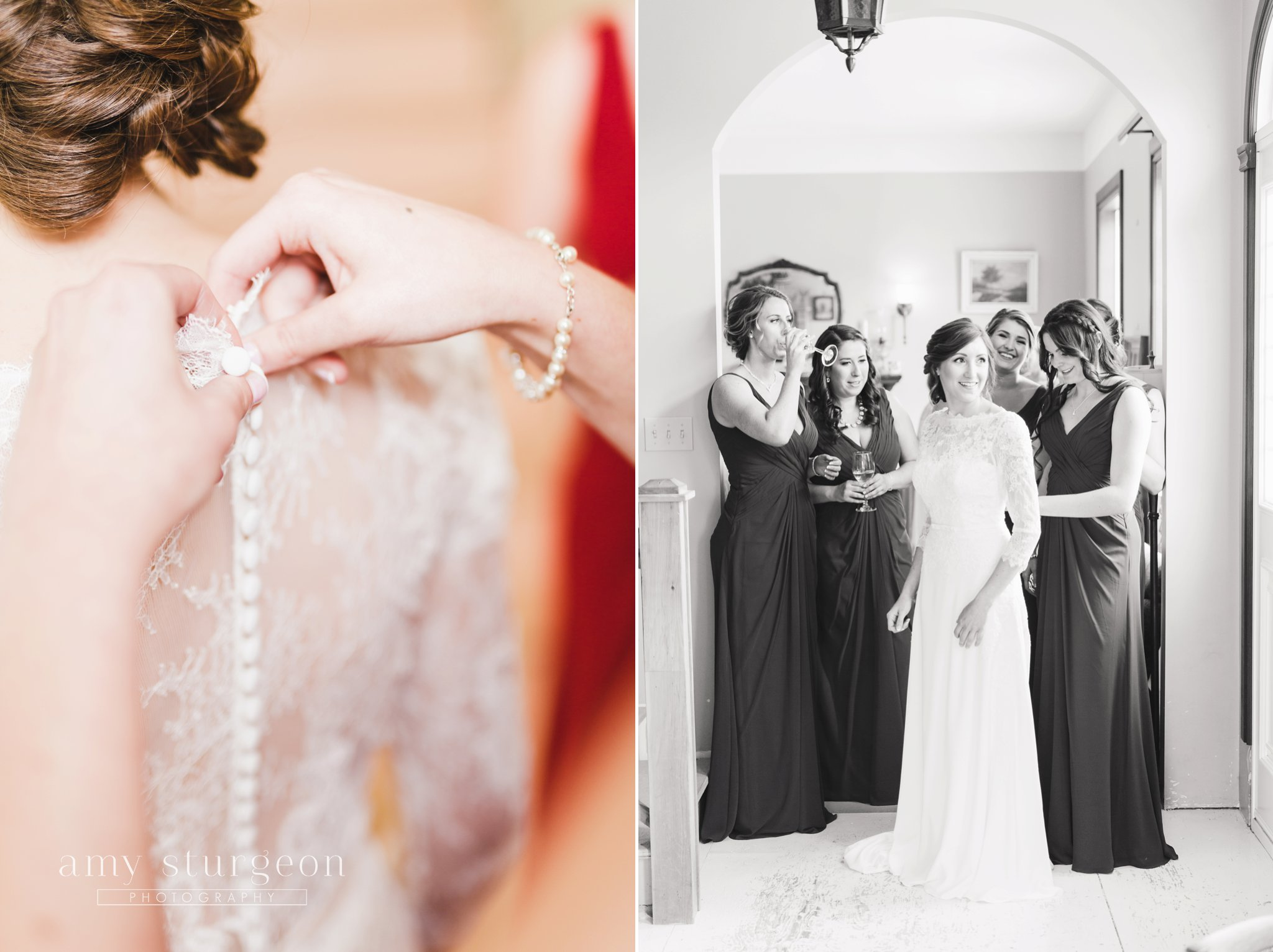 The white satin buttons on the bride's dress were so delicate at the alpaca farm wedding in ottawa