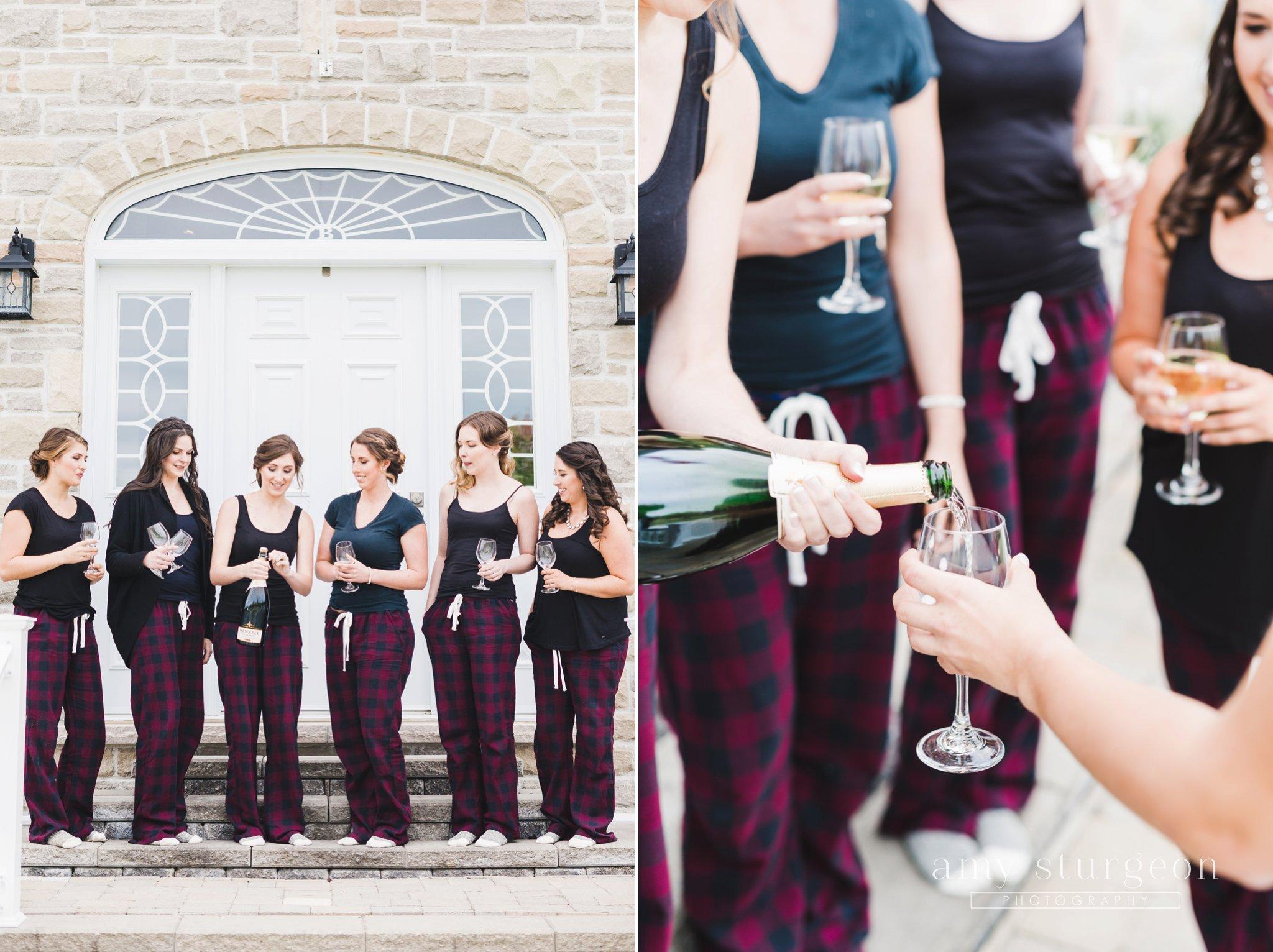bridesmaids had matching burgundy pyjamas on the morning at the alpaca farm wedding in ottawa
