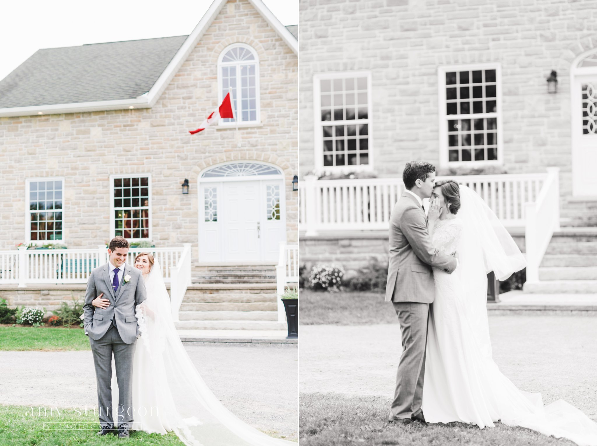 The groom kissed the bride's forehead after their first look at the alpaca farm wedding in ottawa