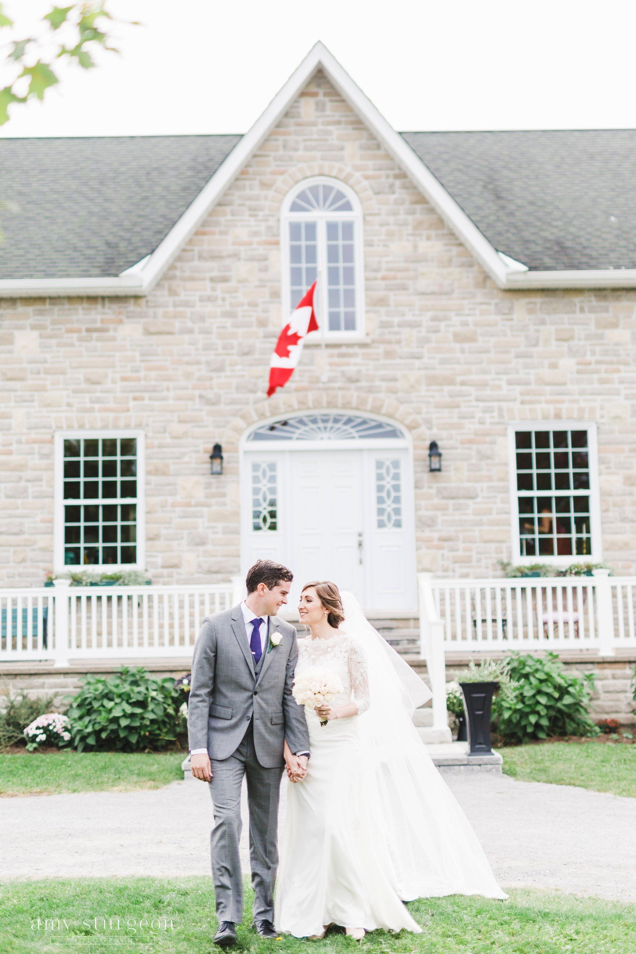 Canada flag bride at the alpaca farm wedding