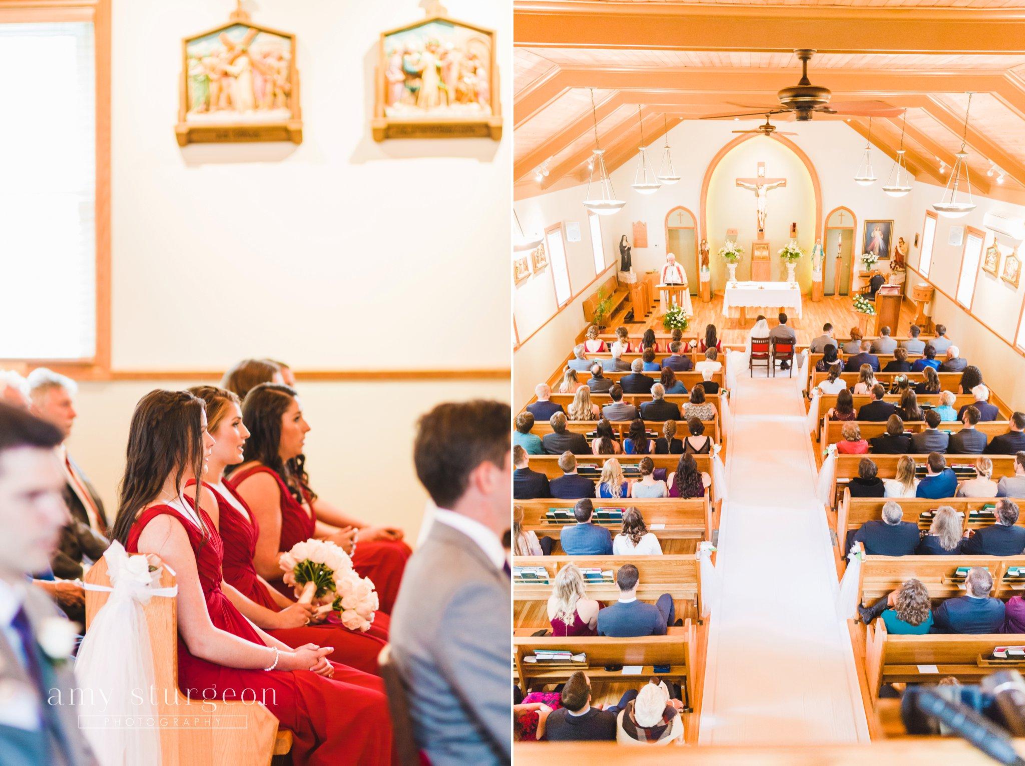 St. margaret mary catholic church wedding ceremony at the alpaca farm wedding