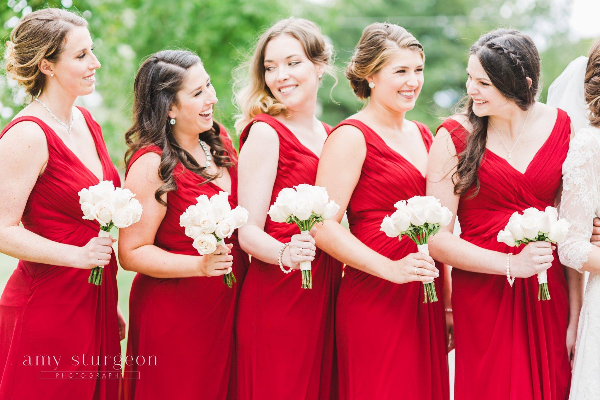 Red david's bridal dresses at the alpaca farm wedding