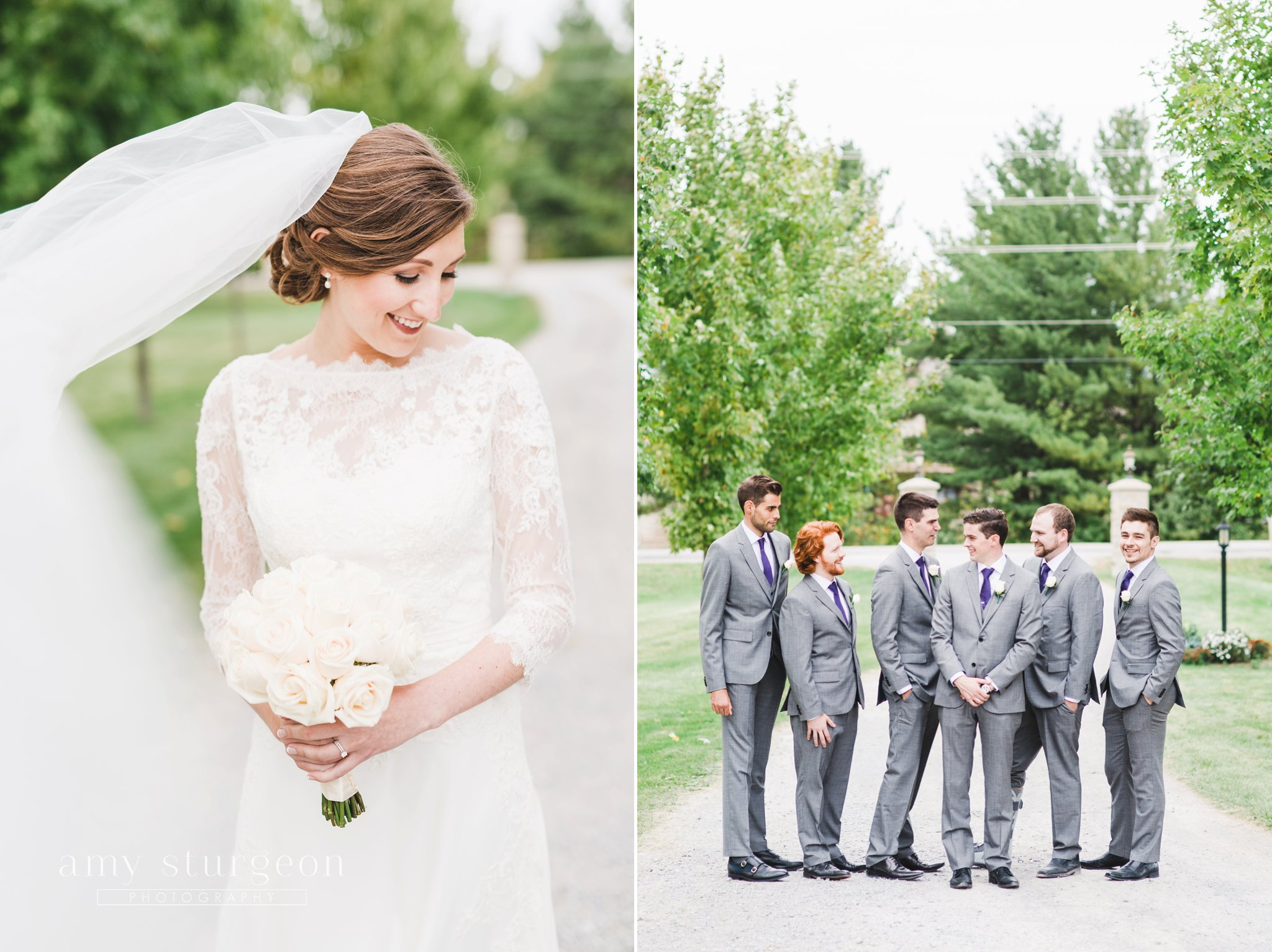 The most beautiful cathedral veil you've ever seen at the alpaca farm wedding