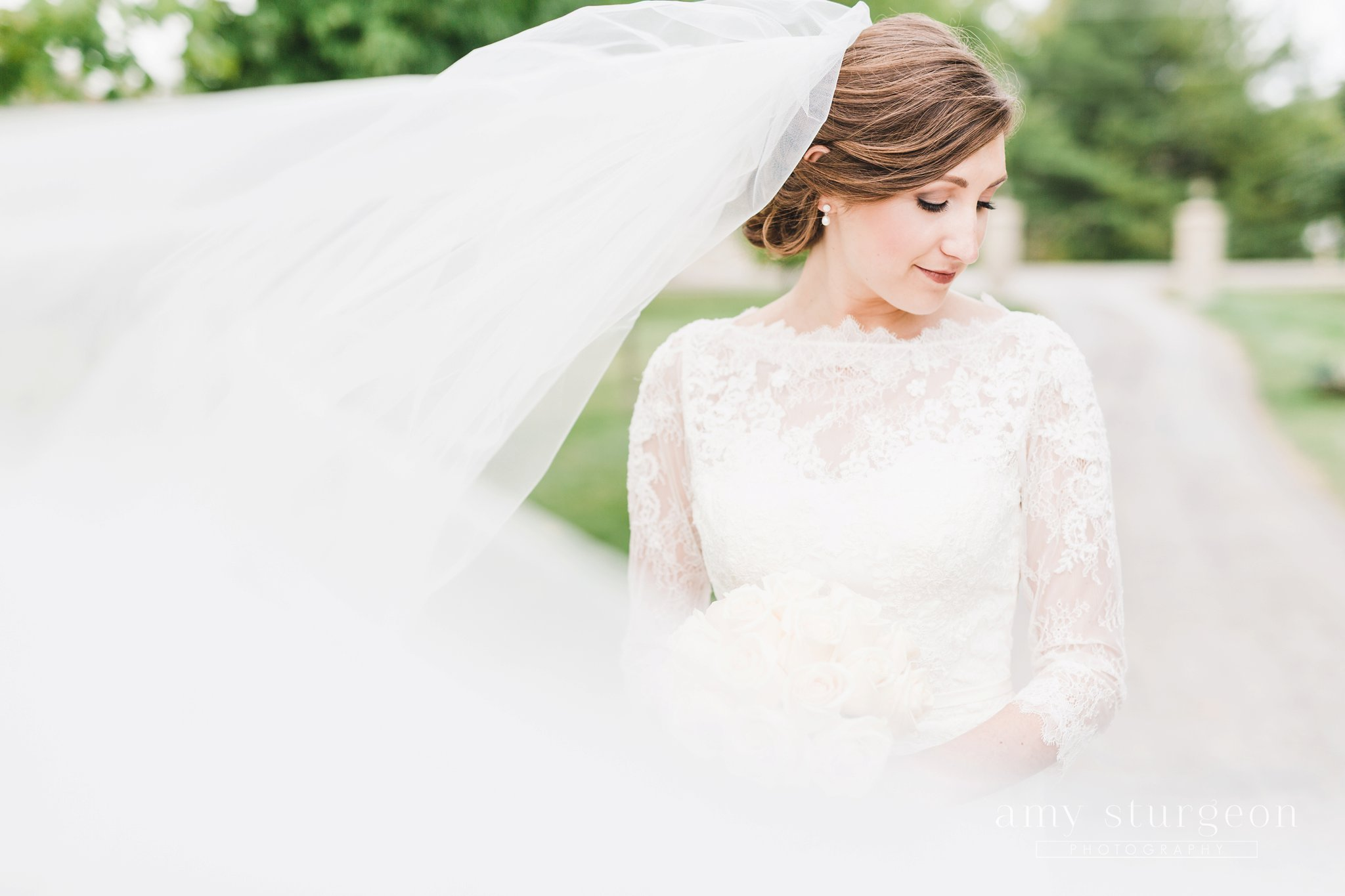 The bride's cathedral veil blew in the wind at the alpaca farm wedding