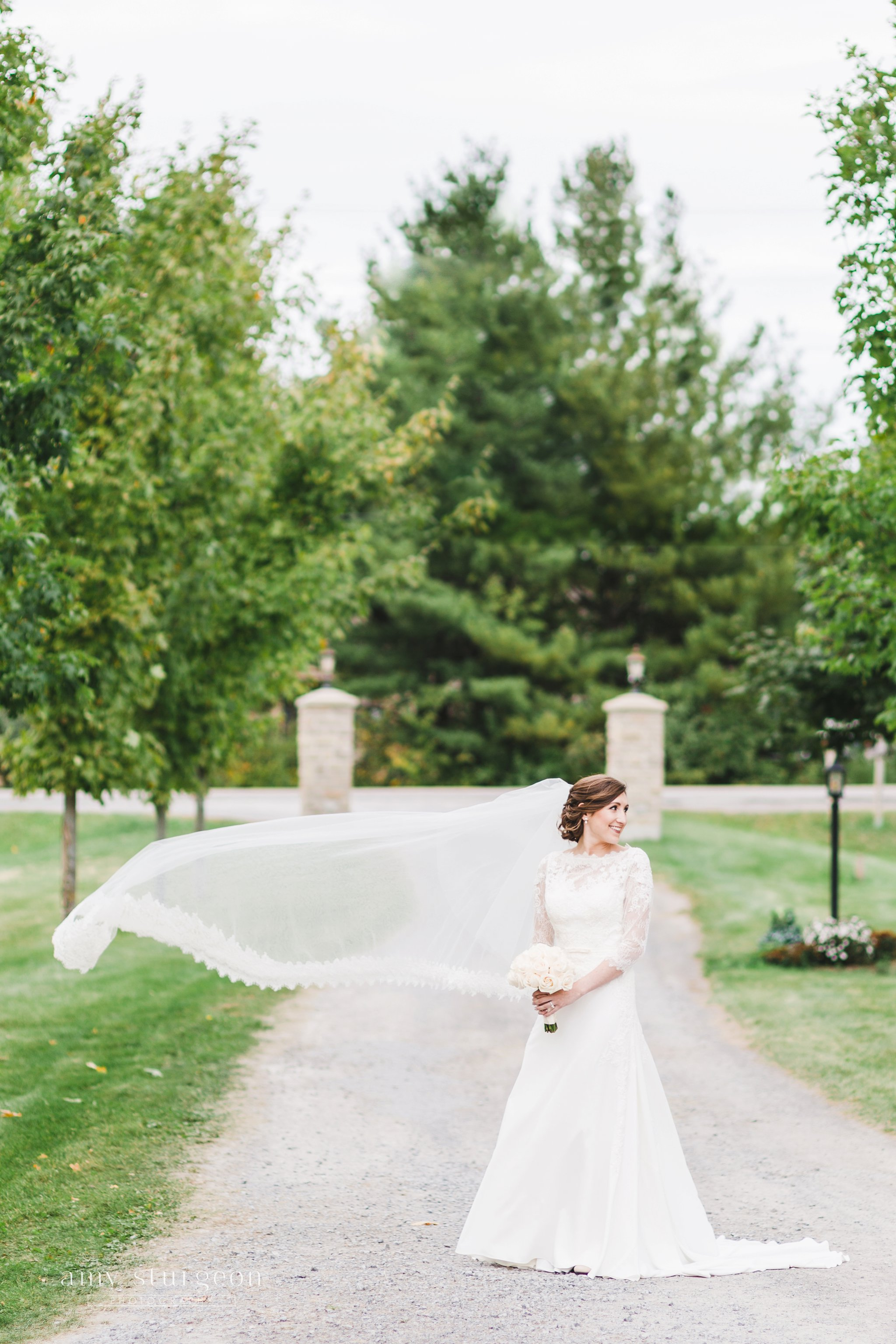 Wind blowing through the bride's cathedral veil at the alpaca farm wedding