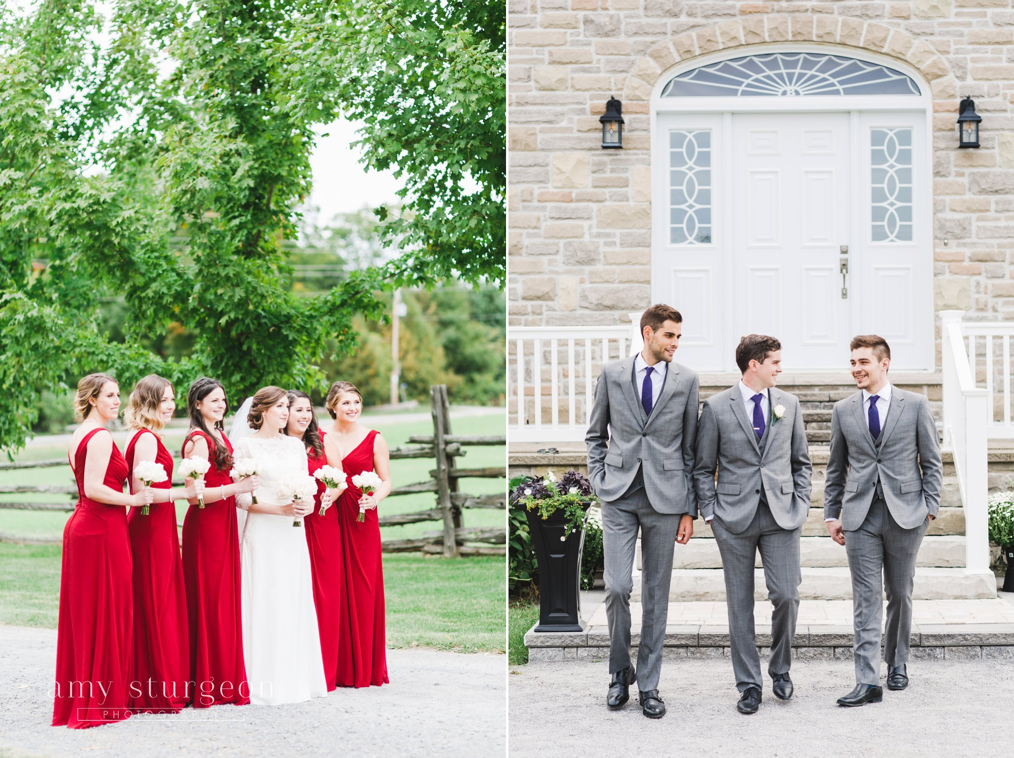 red bridesmaids dresses with white rose bouquets and groomsmen with grey suits at the alpaca farm wedding