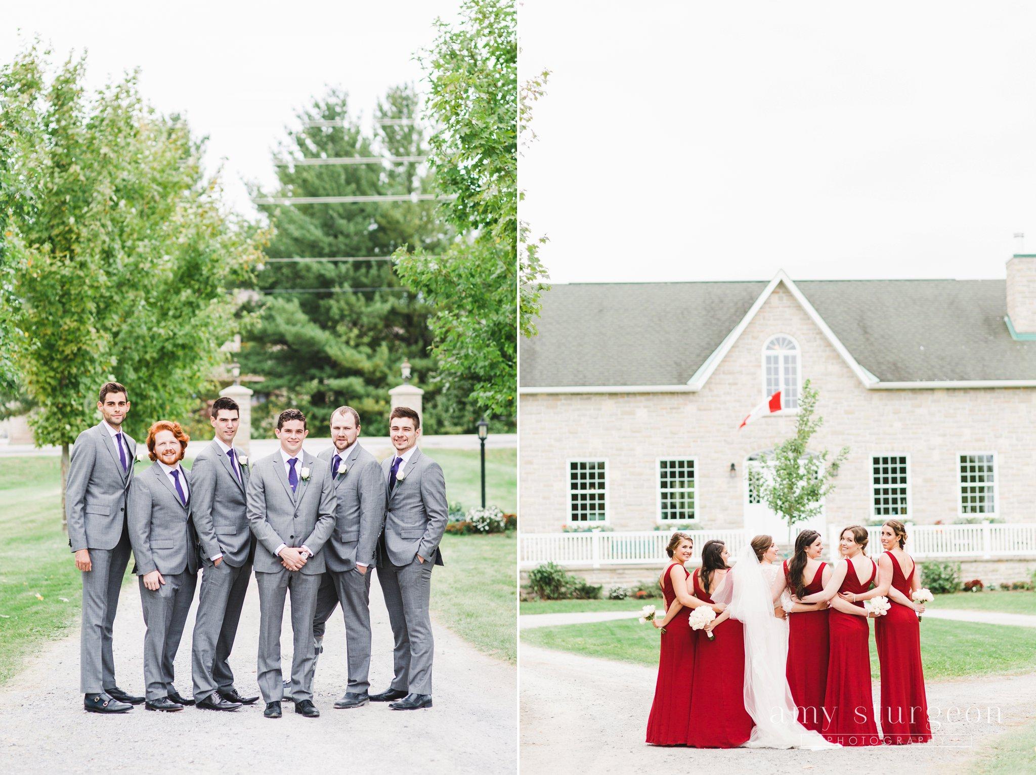 Red bridesmaids dresses from david's bridal at the alpaca farm wedding