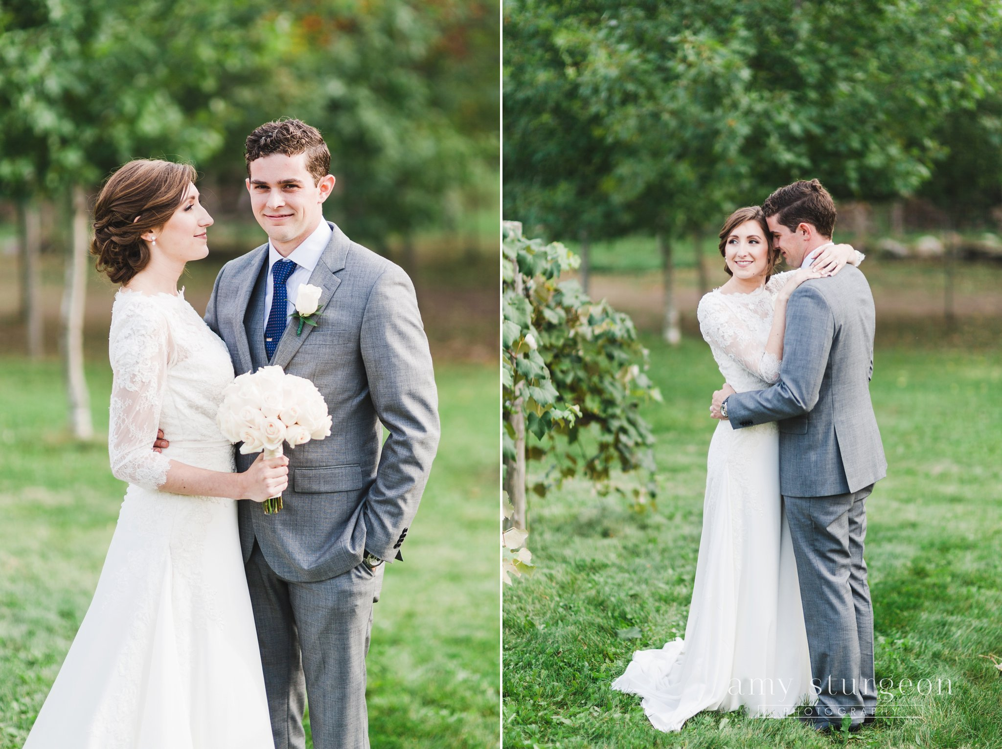 The groom wore a grey suit with a blue tie at the alpaca farm wedding