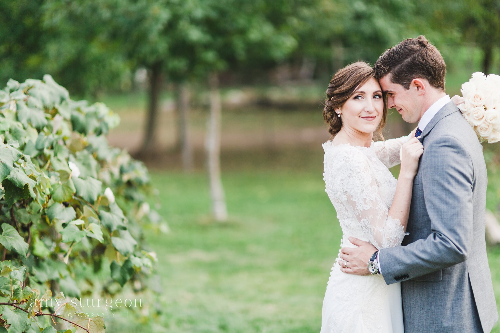 Bride and groom walked down the rows of the vineyard at the alpaca farm wedding