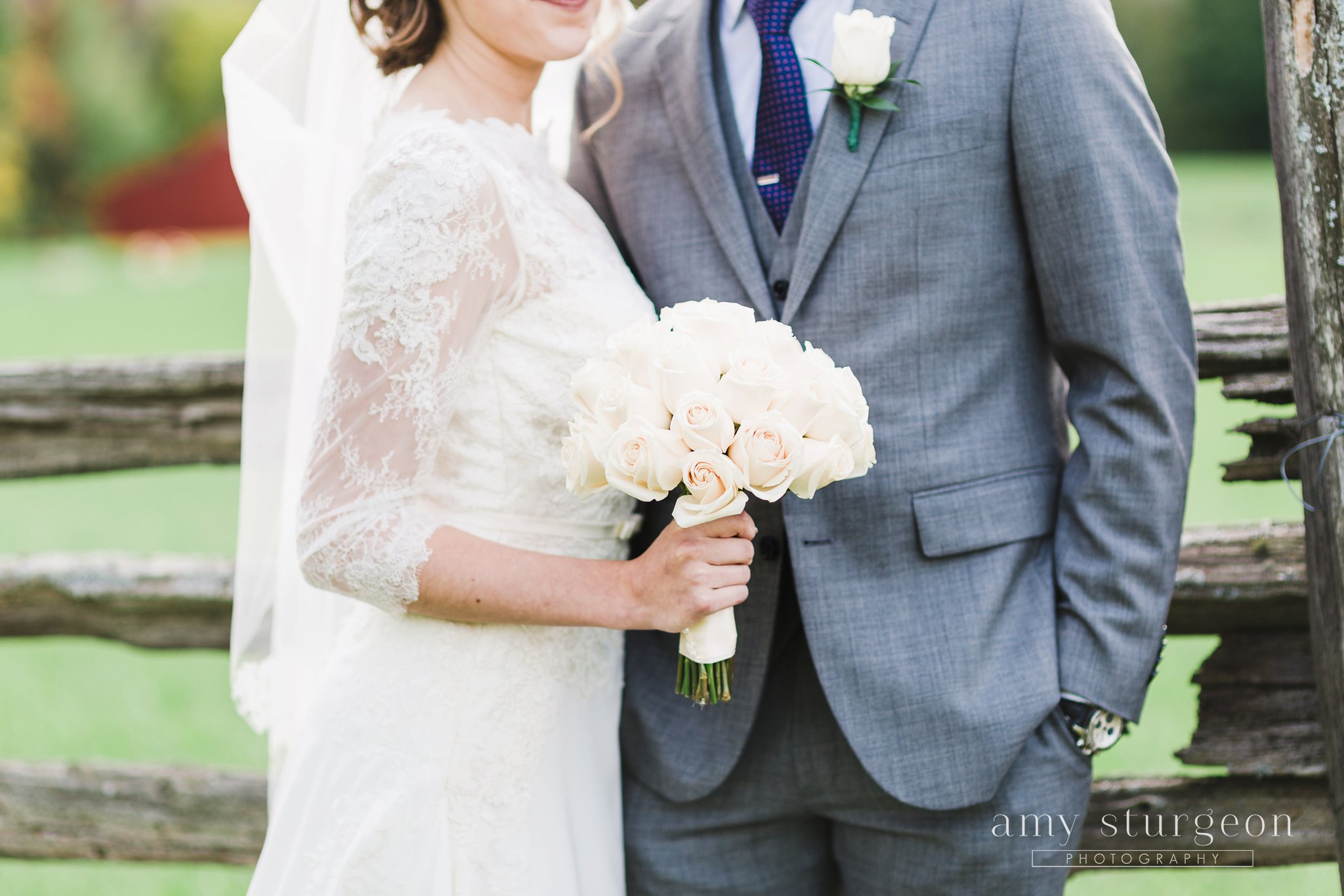 White rose wedding bouquet at the alpaca farm wedding