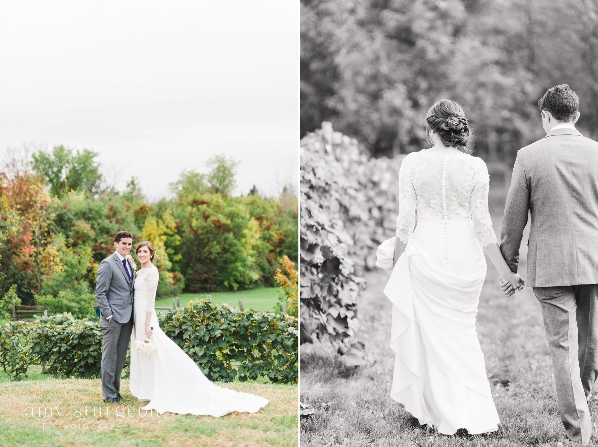 The bride and groom made posing look easy at the alpaca farm wedding