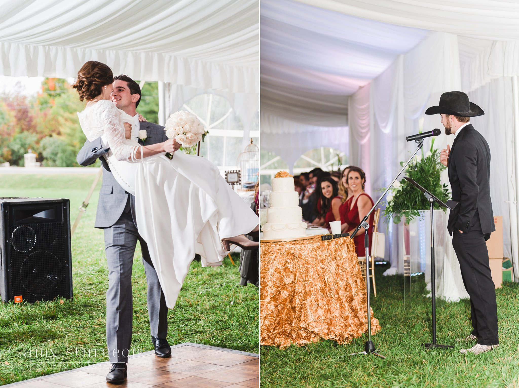 He swept her off her feet for the grand entrance at the alpaca farm wedding