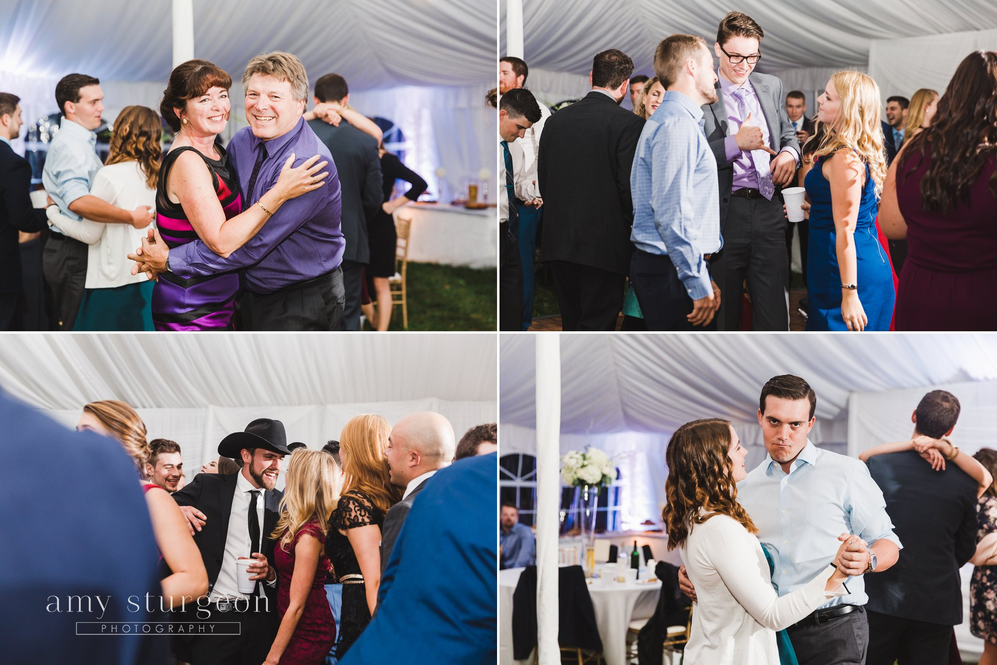 The guests had so much fun on the dance floor during the wedding reception at the alpaca farm wedding