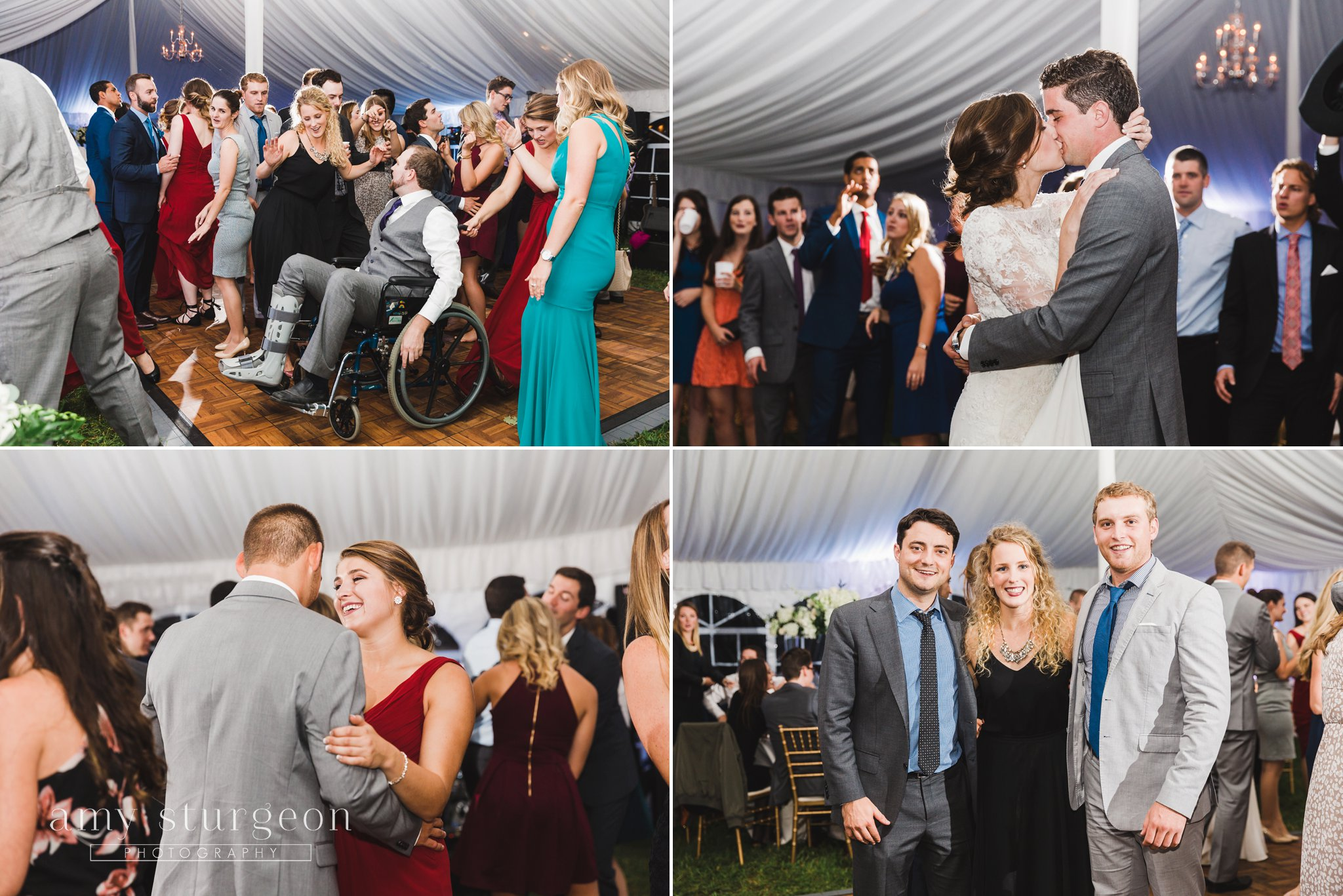 The uplighting in the wedding tent was beautiful at the alpaca farm wedding