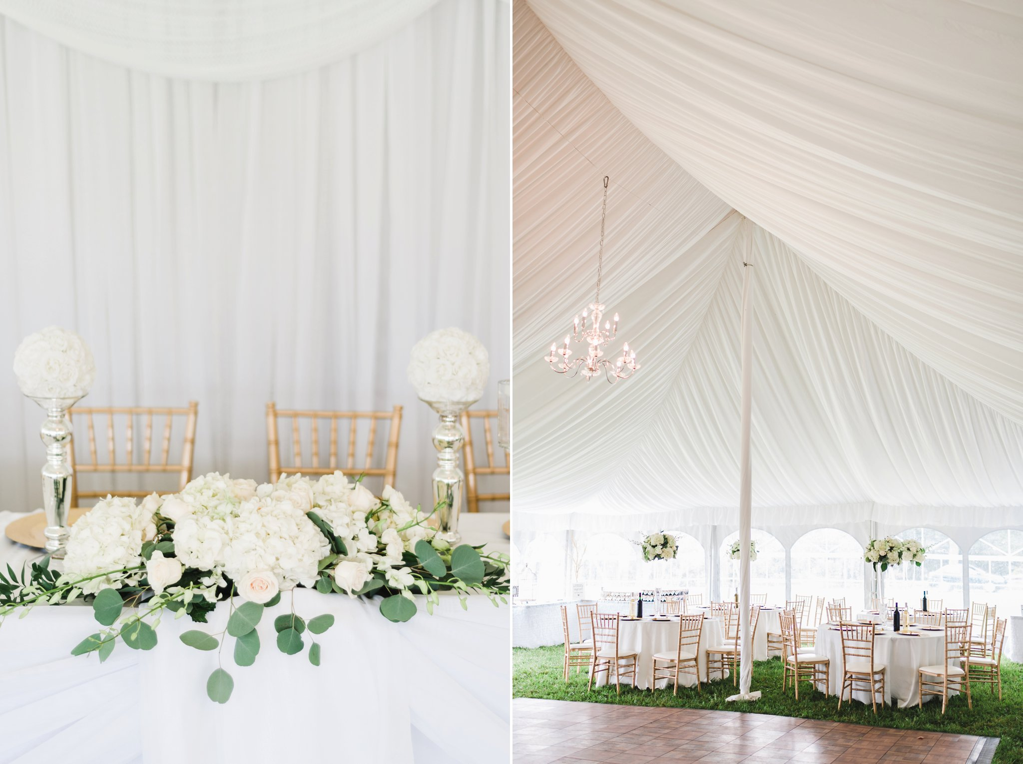 A tent with white ceiling draping at the alpaca farm wedding
