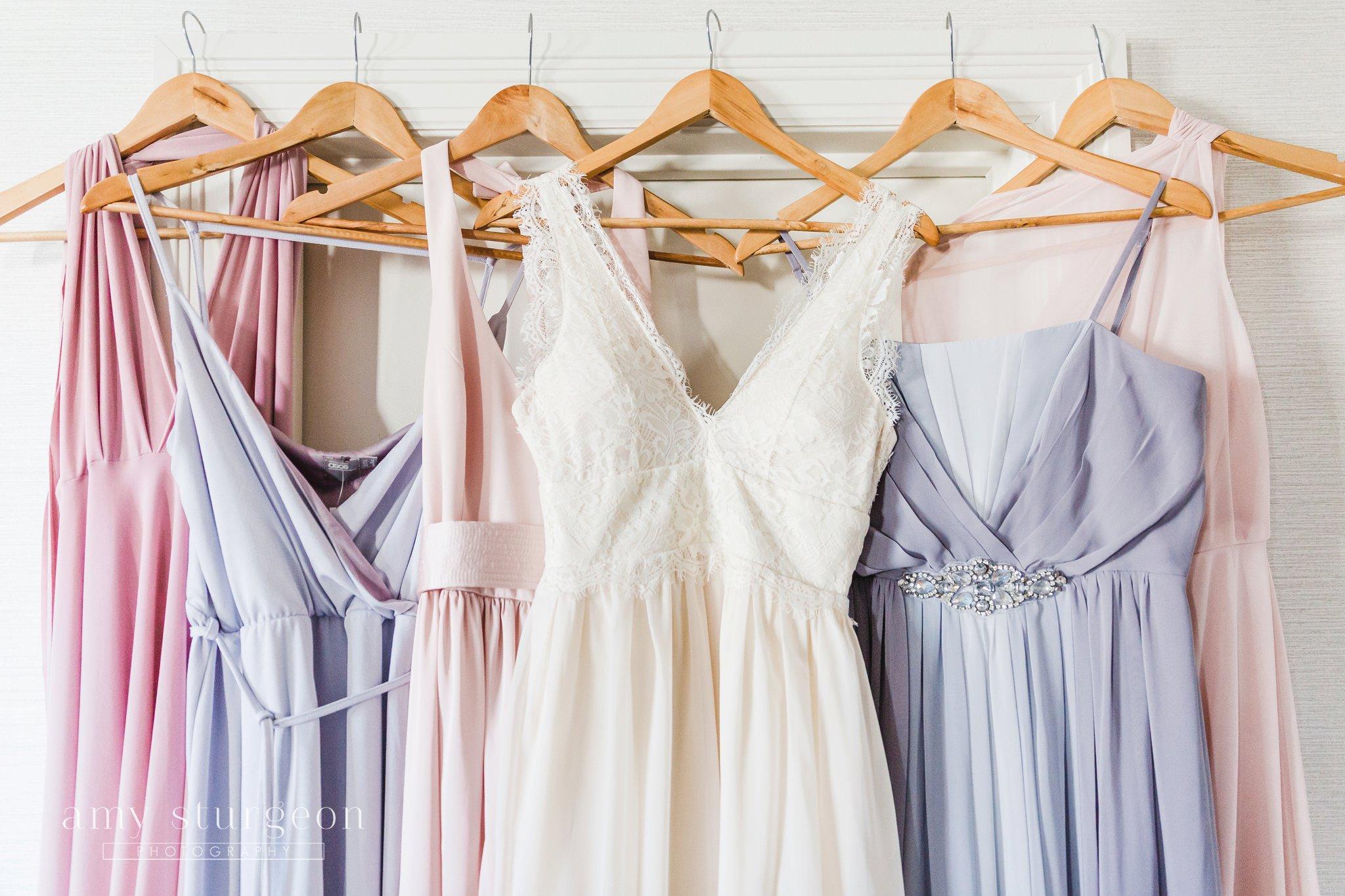 Pastel bridesmaids dresses at the aviation museum wedding