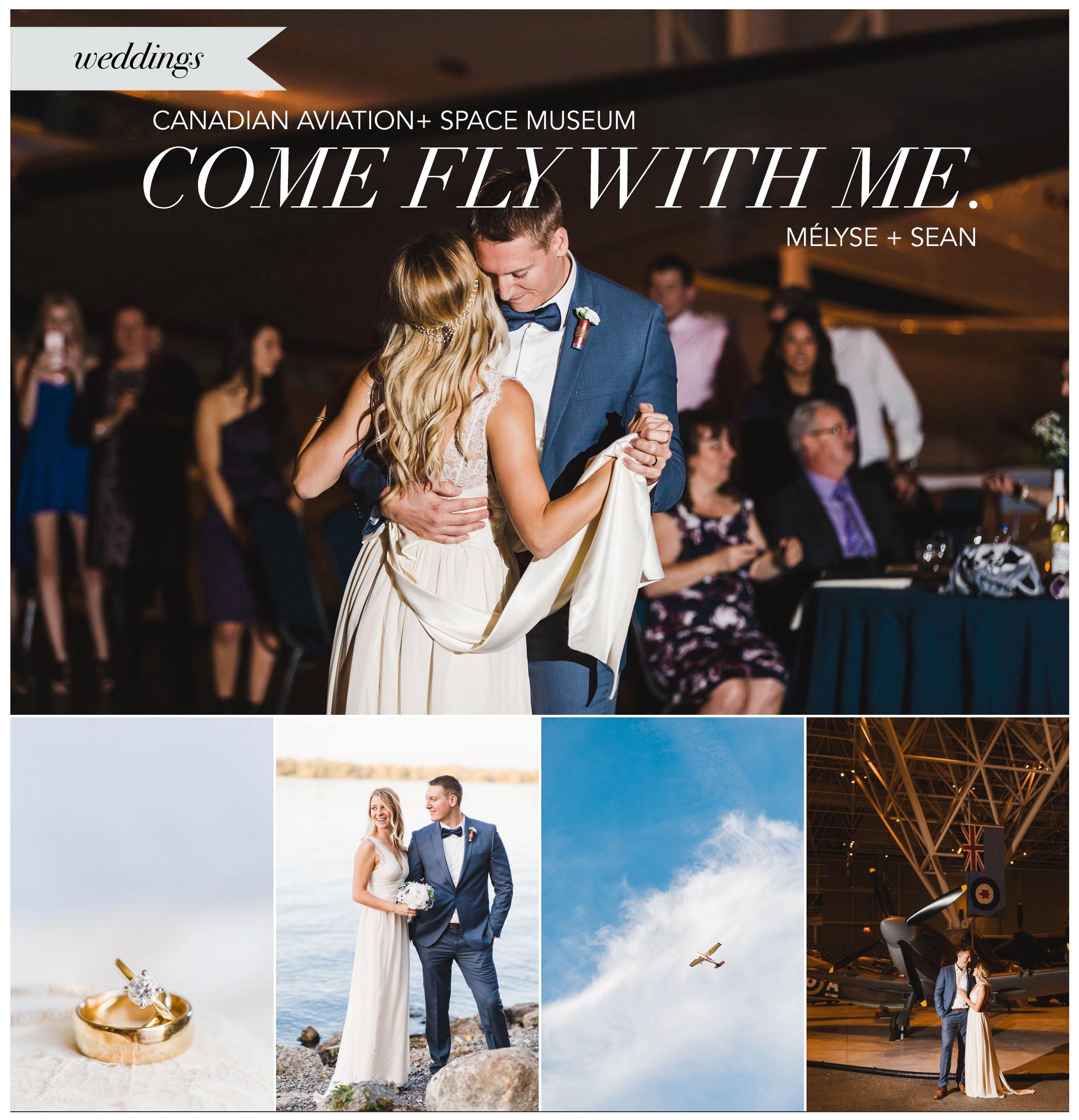 Canadian aviation museum wedding