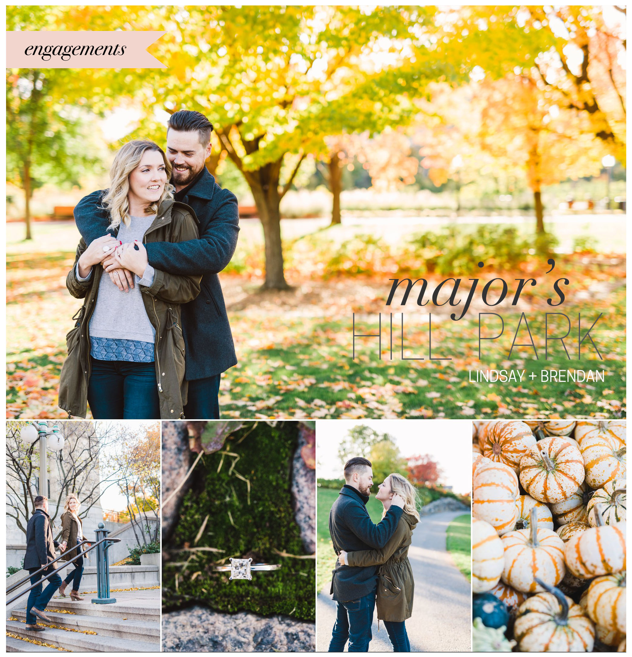 fall byward market engagement session with pumpkins and fall colours