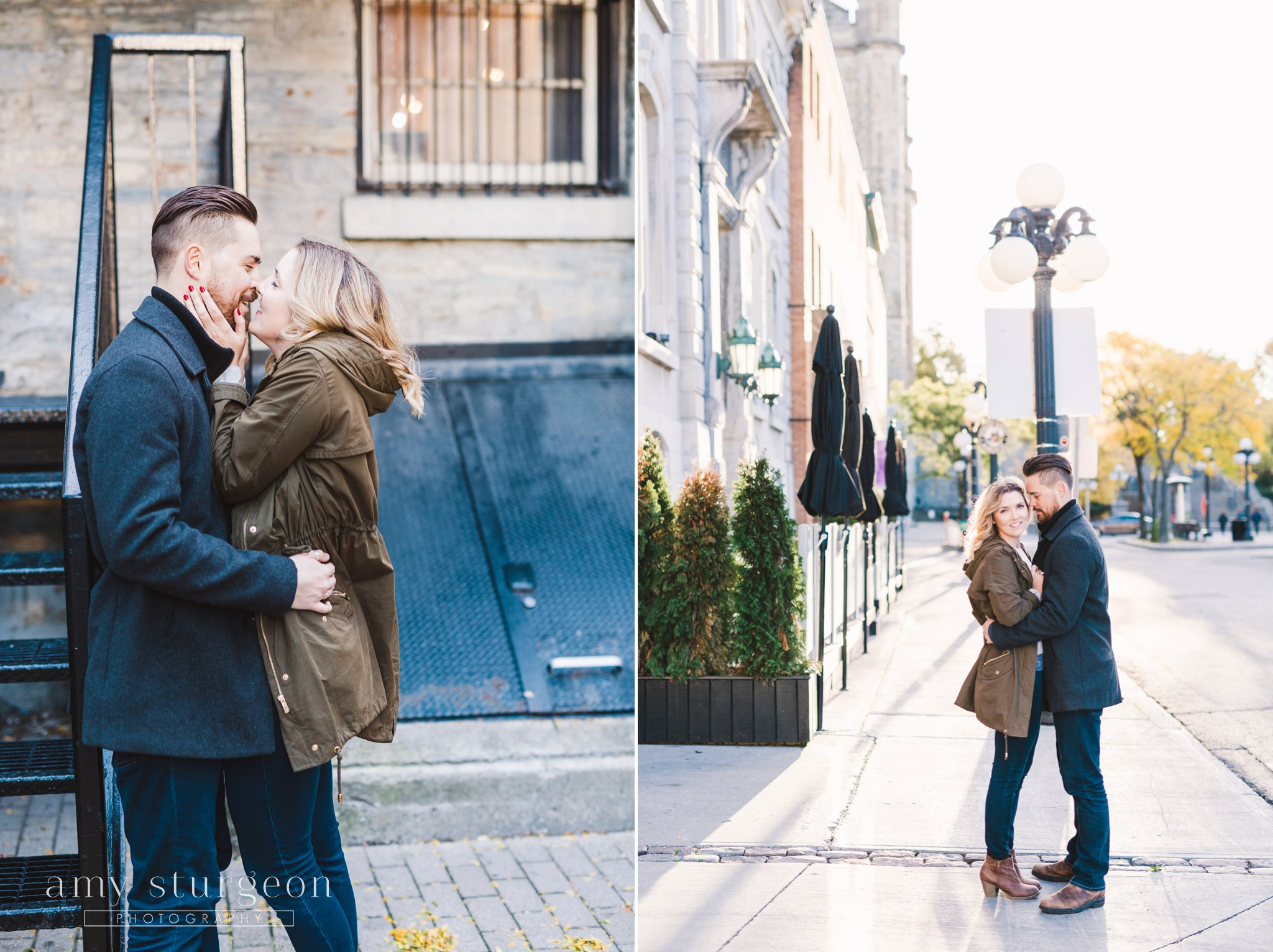fall byward market engagement session by the courtyard restaurant