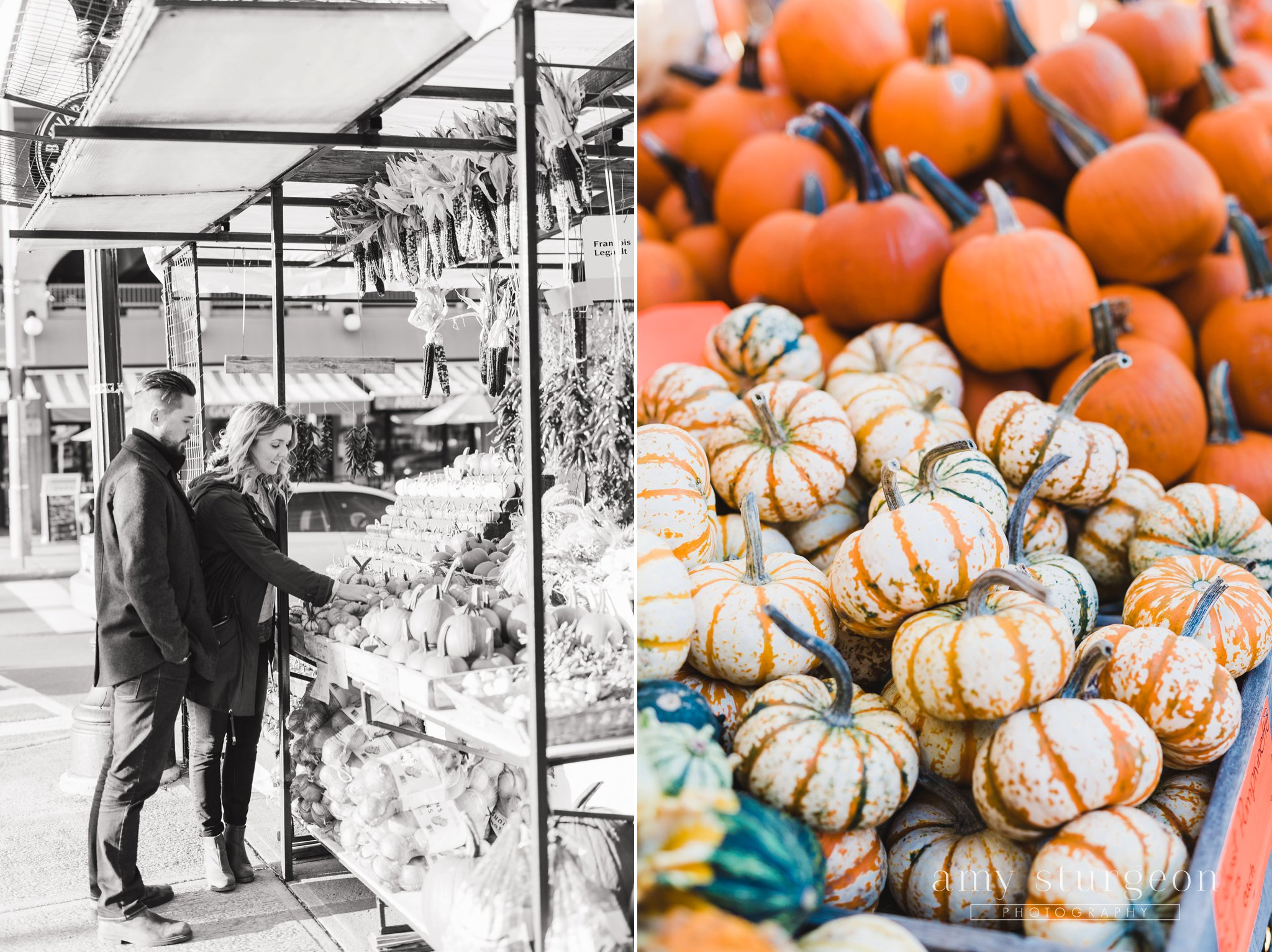 Ghost pumpkins in a fall byward market engagement session in Downtown ottawa