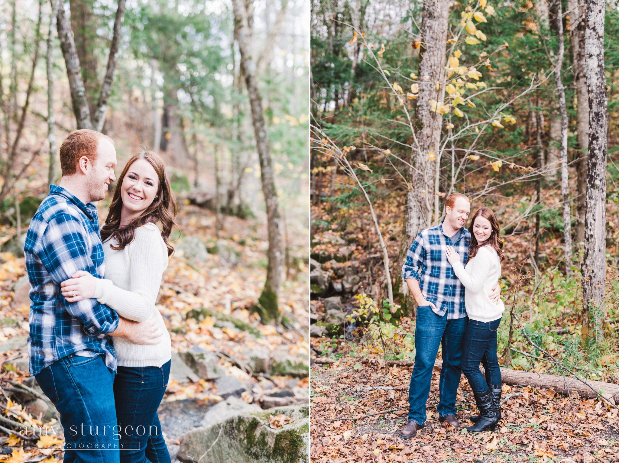 Wakefield Engagement Session with Fall leaves and a happy couple