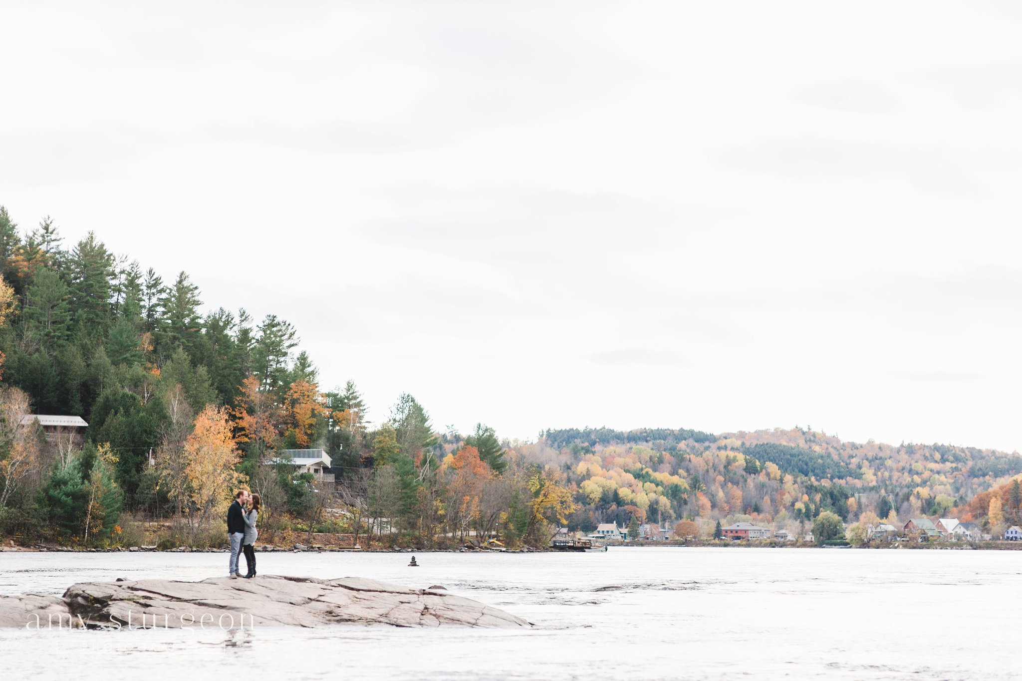 The incredible Fall landscape at the Wakefield Engagement Session by the covered bridge