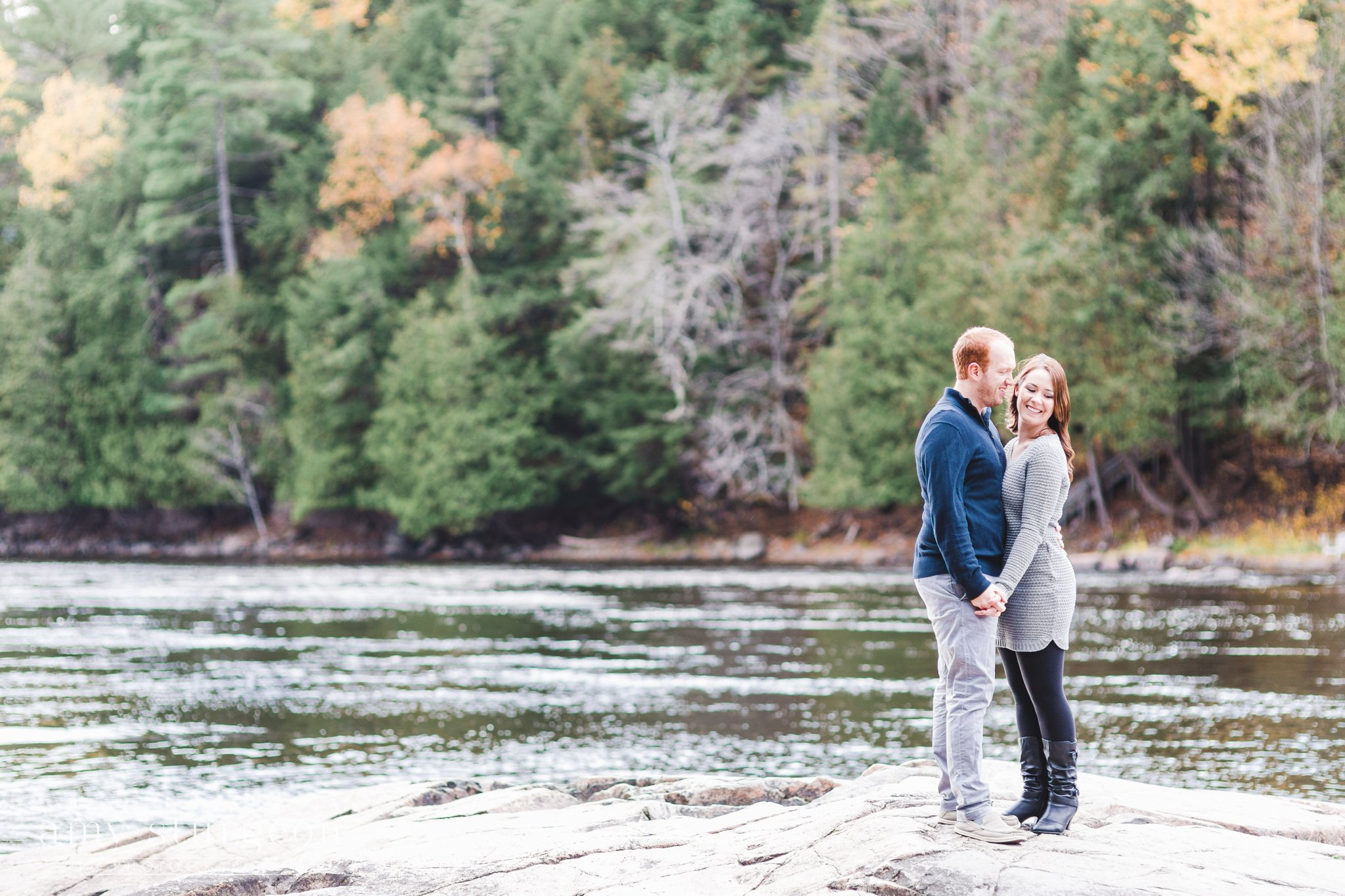 The water levels were low for the Fall Wakefield Engagement Session by the covered bridge
