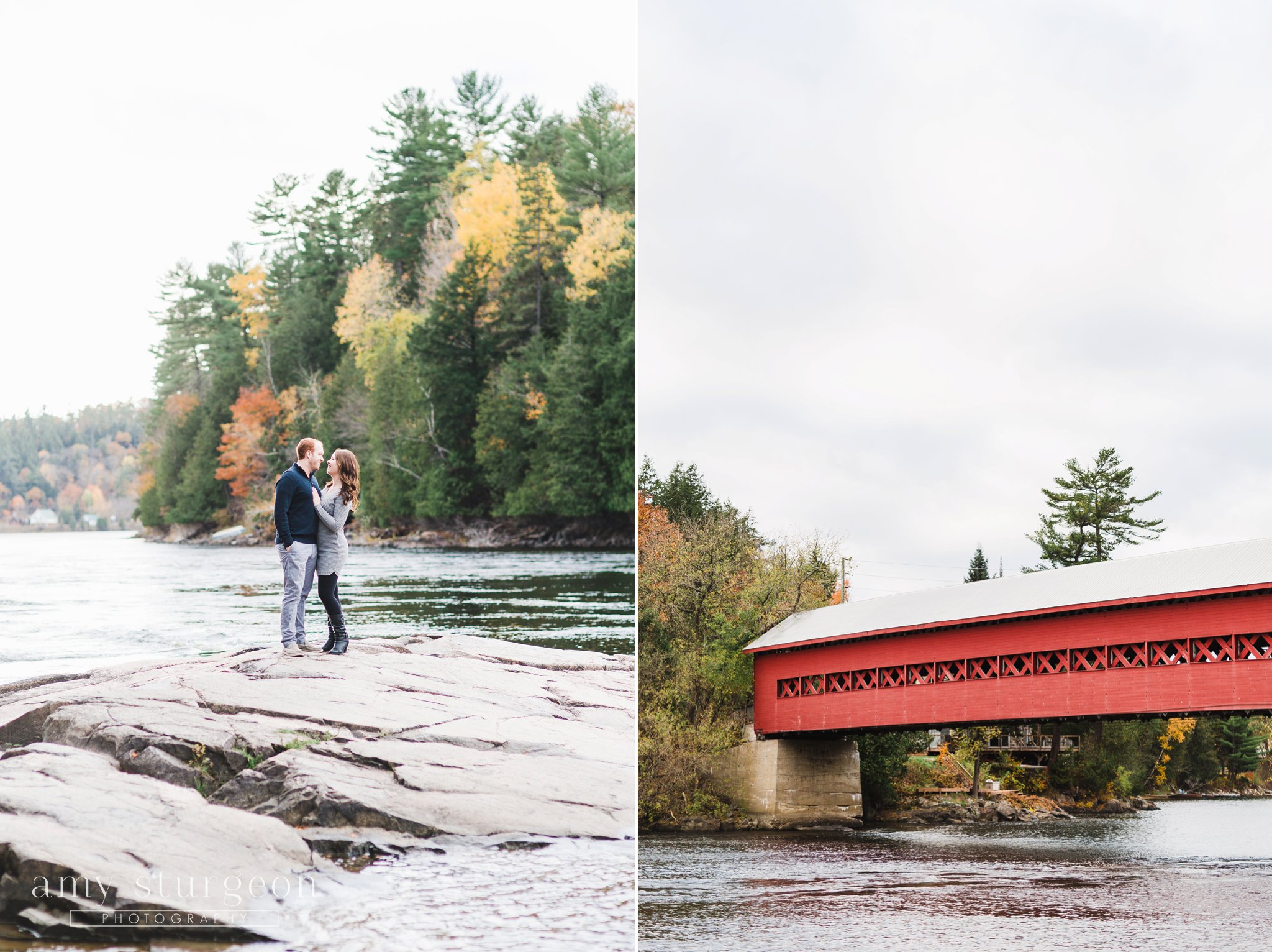 The covered bridge at the Fall Wakefield Engagement Session