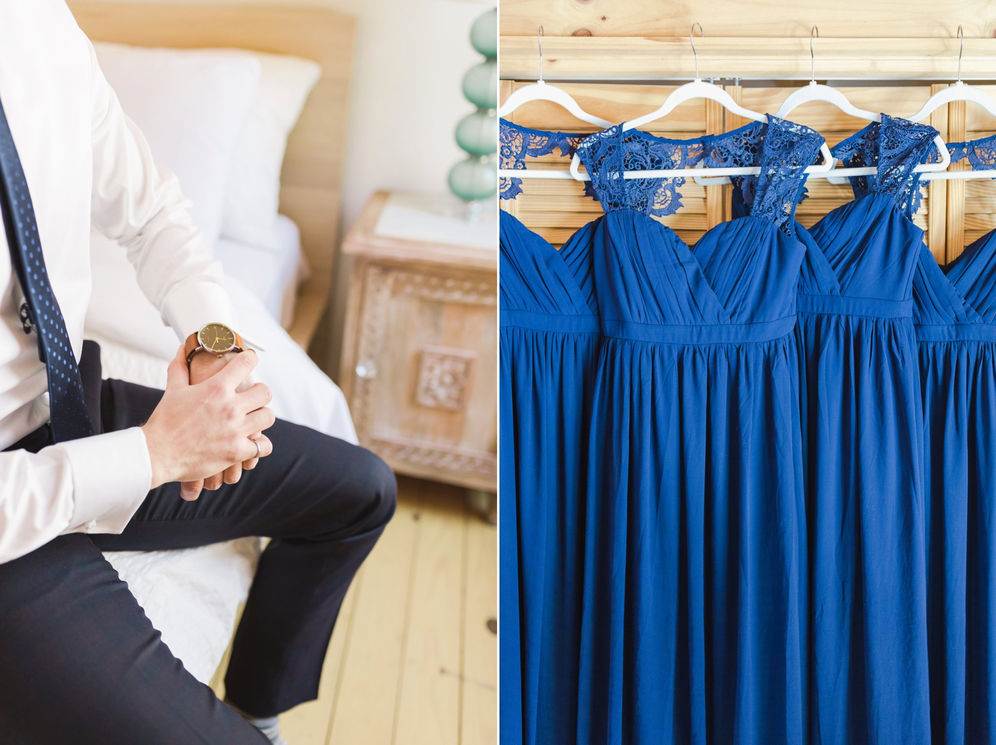 Navy bridesmaids dresses at the Winter wedding at Le Belvedere