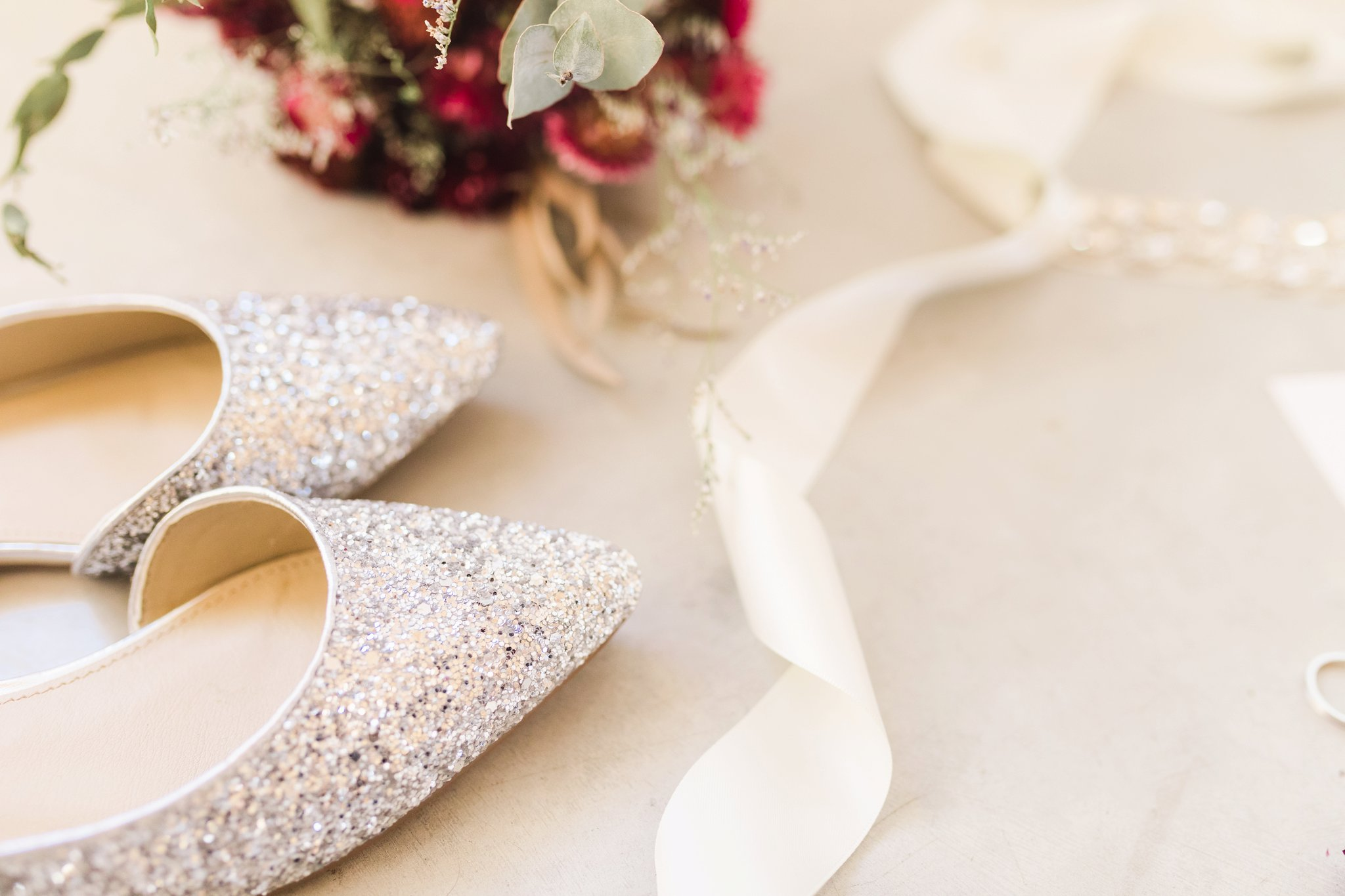 Sparkly silver shoes at the Winter wedding at Le Belvedere