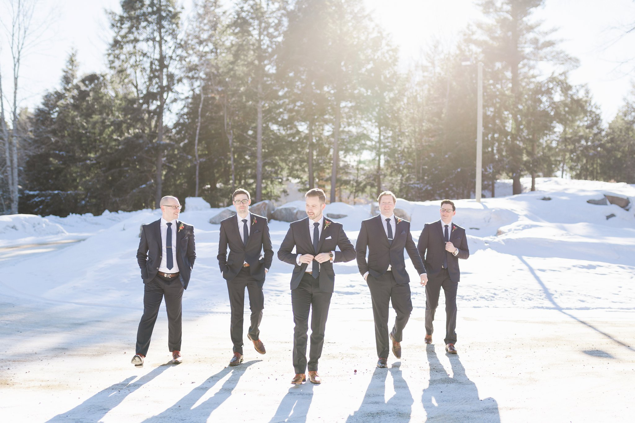 Groomsmen wear Jimmy the Suit at the Winter wedding at Le Belvedere