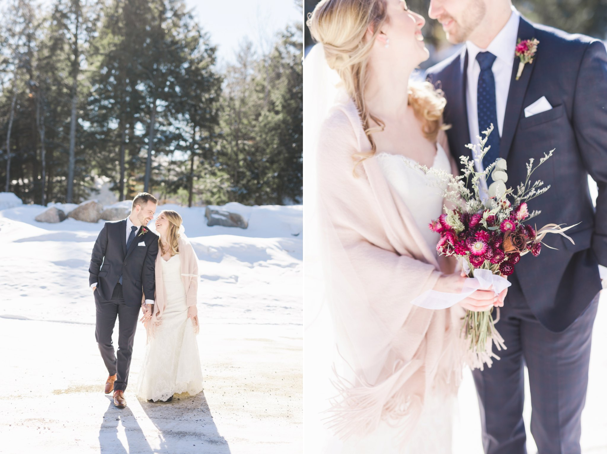 Bride and groom in the snow at the Winter wedding at Le Belvedere
