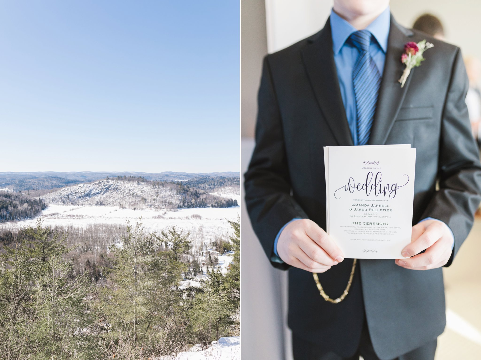 Etsy calligraphy suite at the Winter wedding at Le Belvedere