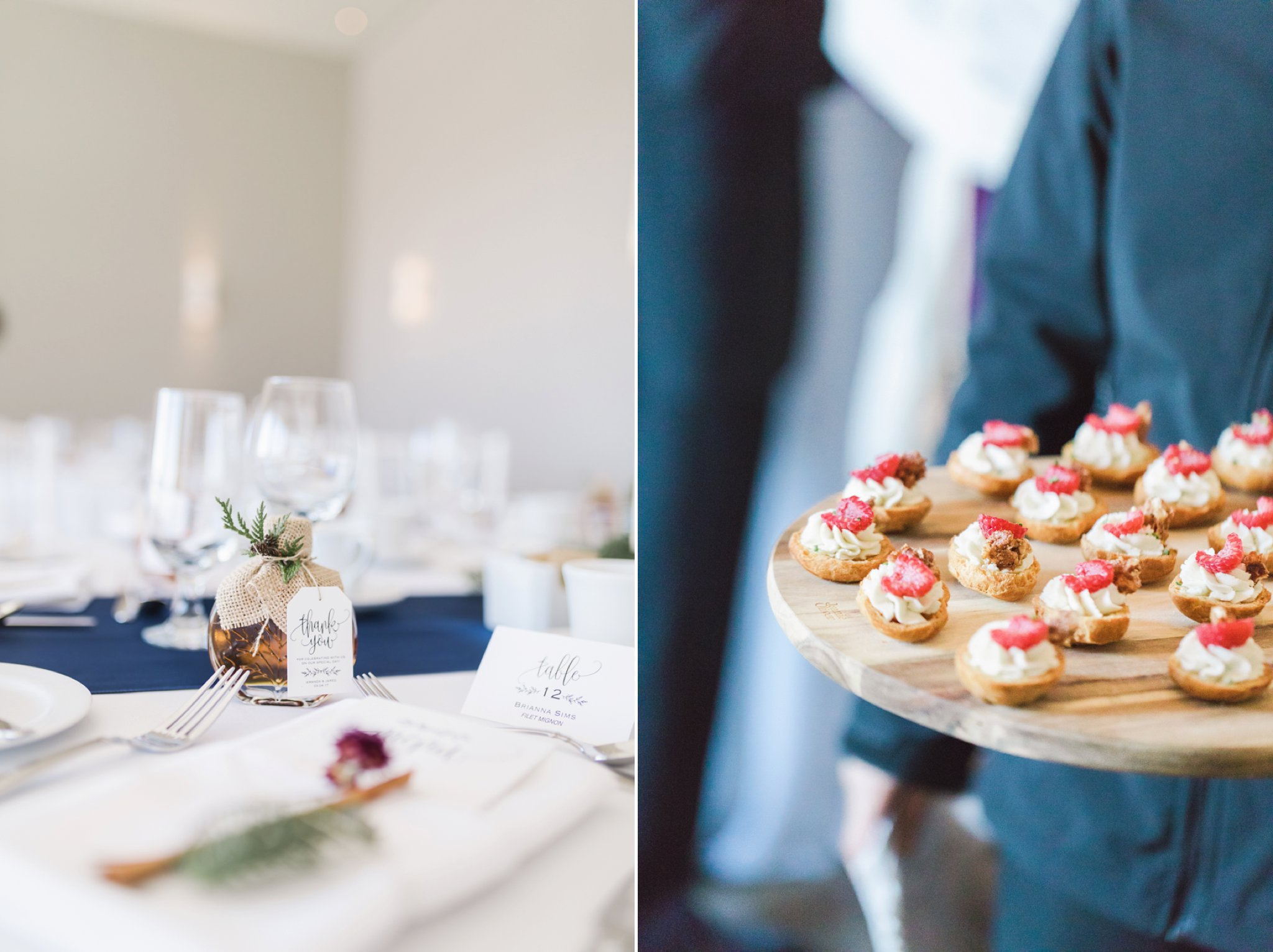 Appetizers and maple syrup favours at the Winter wedding at Le Belvedere