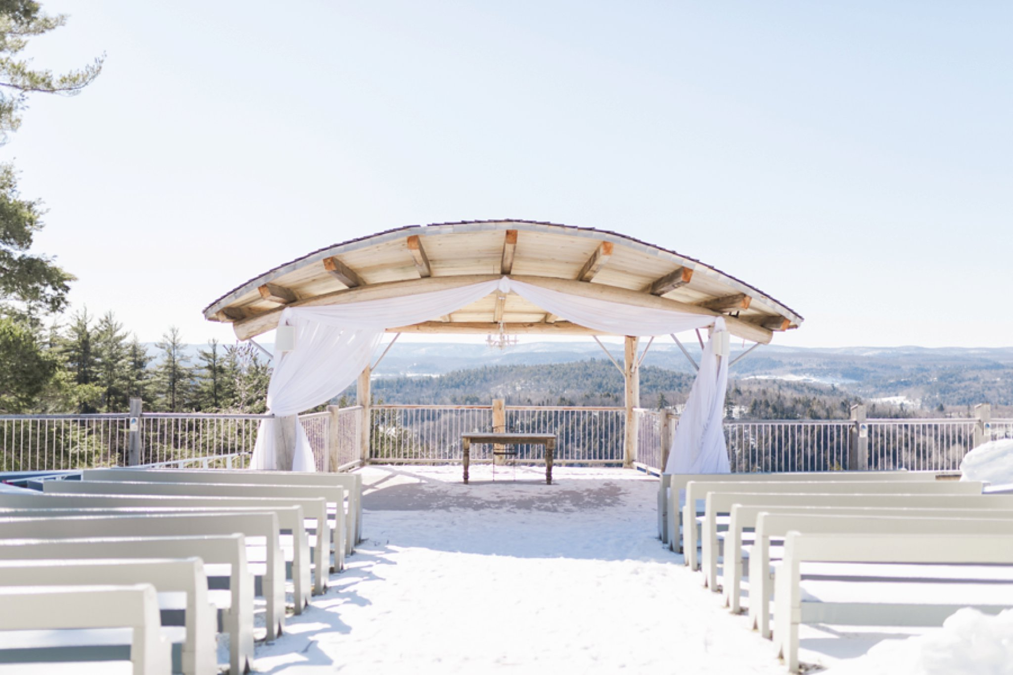 Outdoor pavilion at the Winter wedding at Le Belvedere