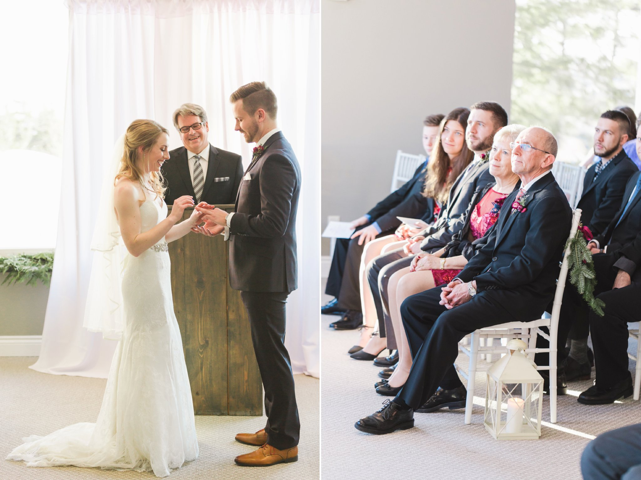 Indoor wedding ceremony at the Winter wedding at Le Belvedere