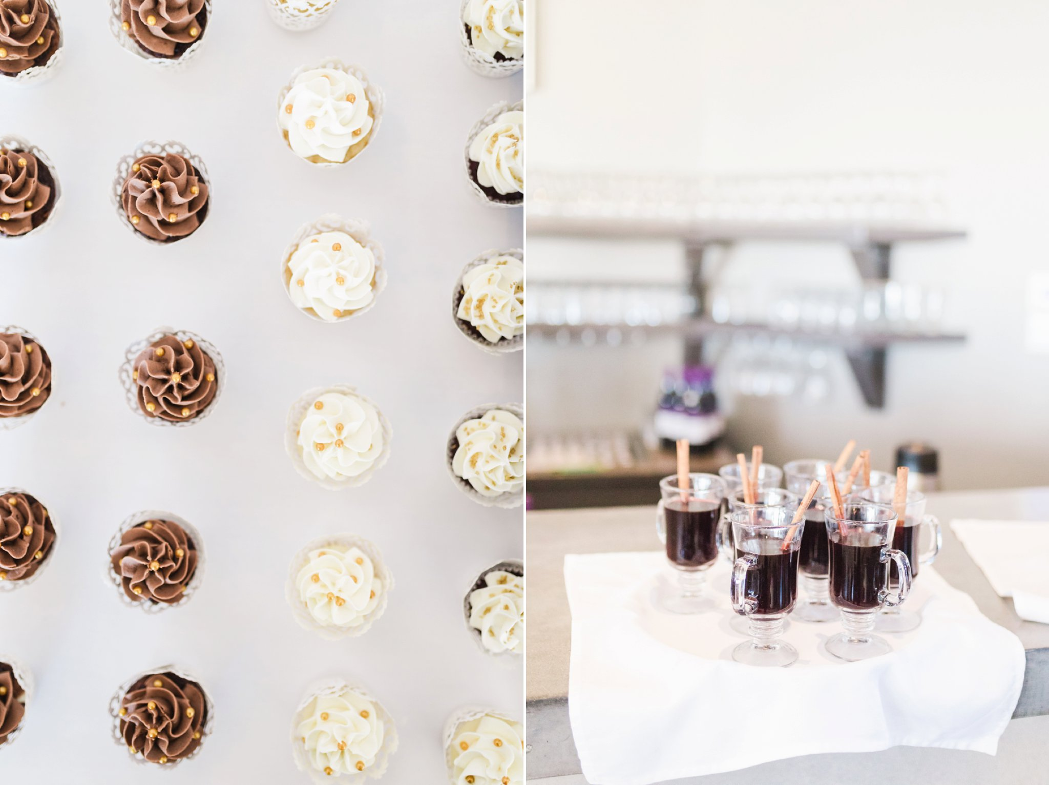 Cupcakes and hot toddy at the Winter wedding at Le Belvedere