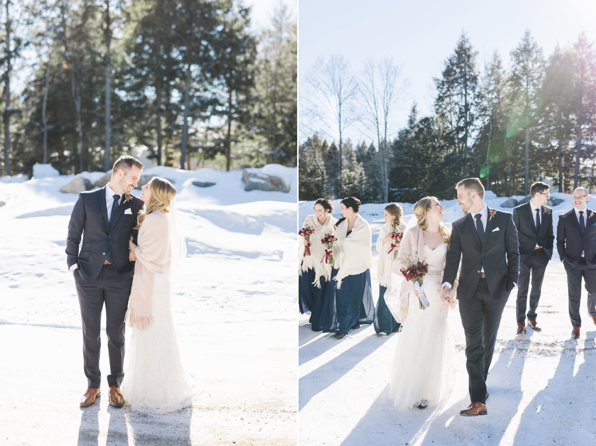 Bridal party photos at the Winter wedding at Le Belvedere