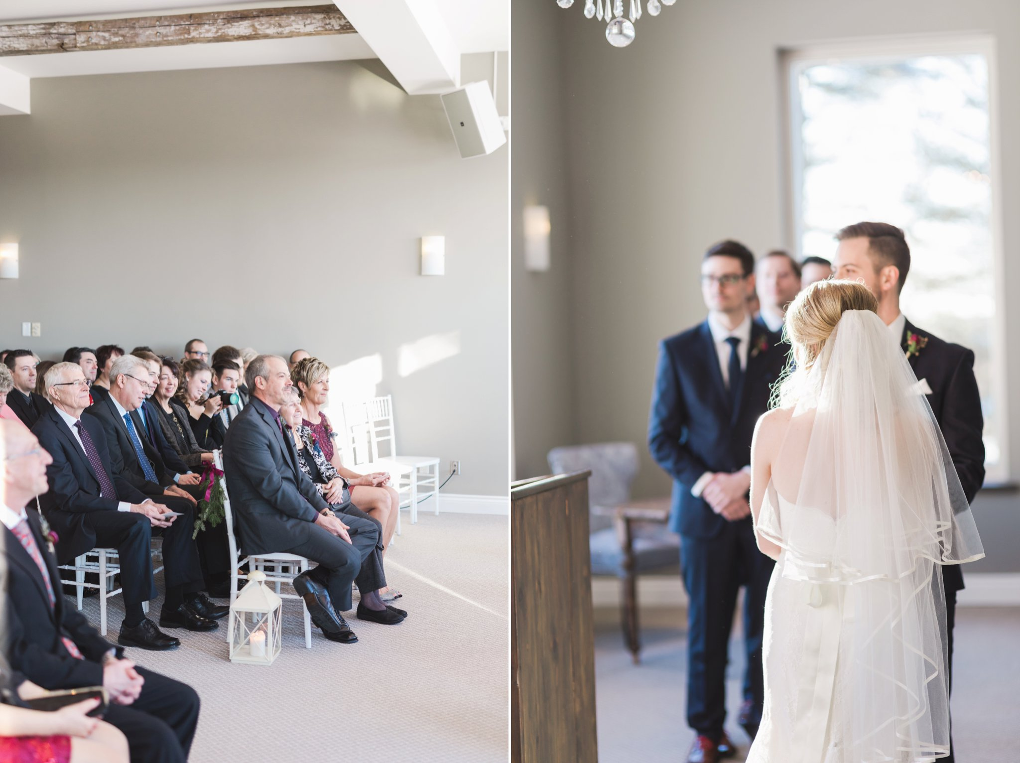 Indoor ceremony at the Winter wedding at Le Belvedere