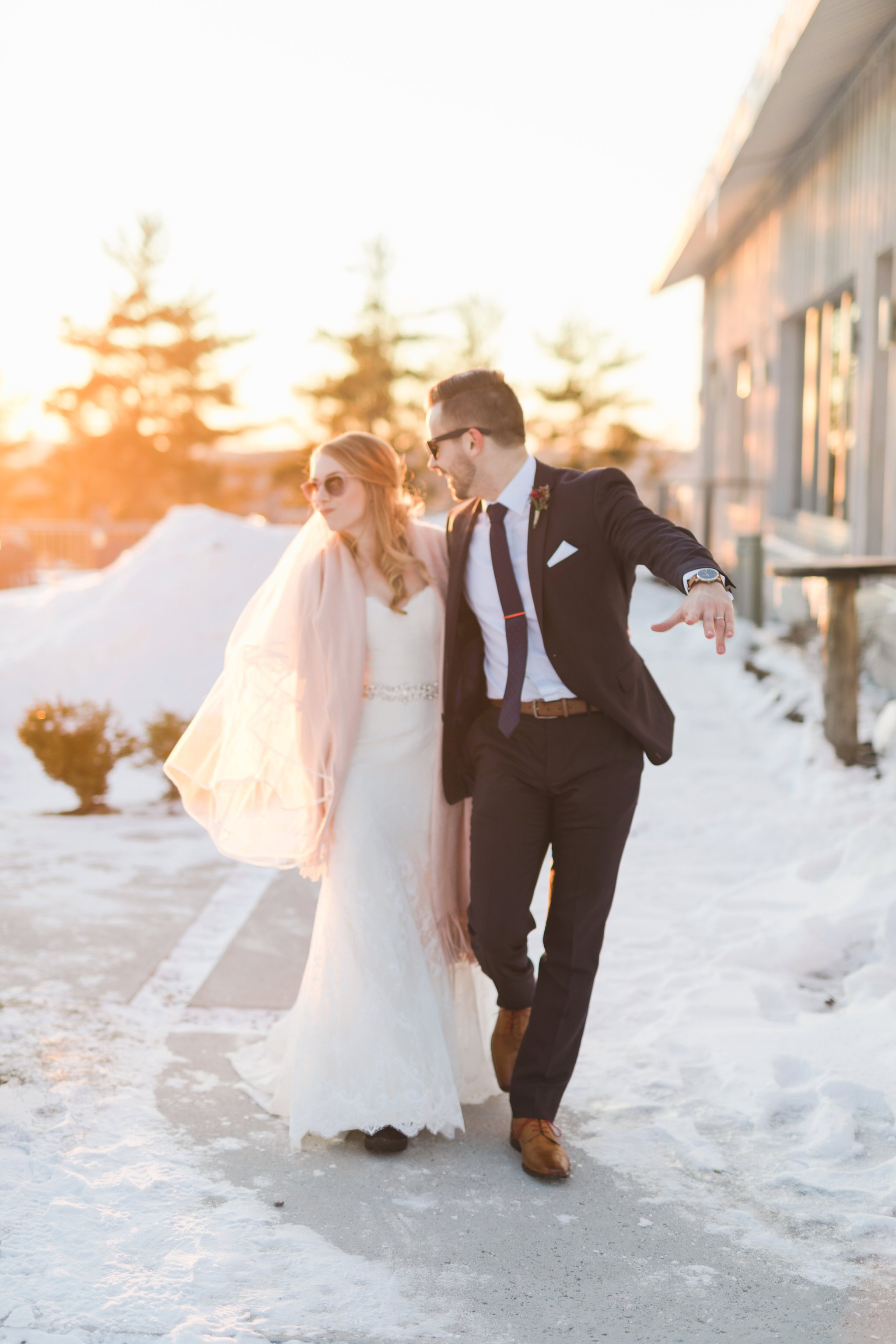 Bride and groom sunglasses at the Winter wedding at Le Belvedere