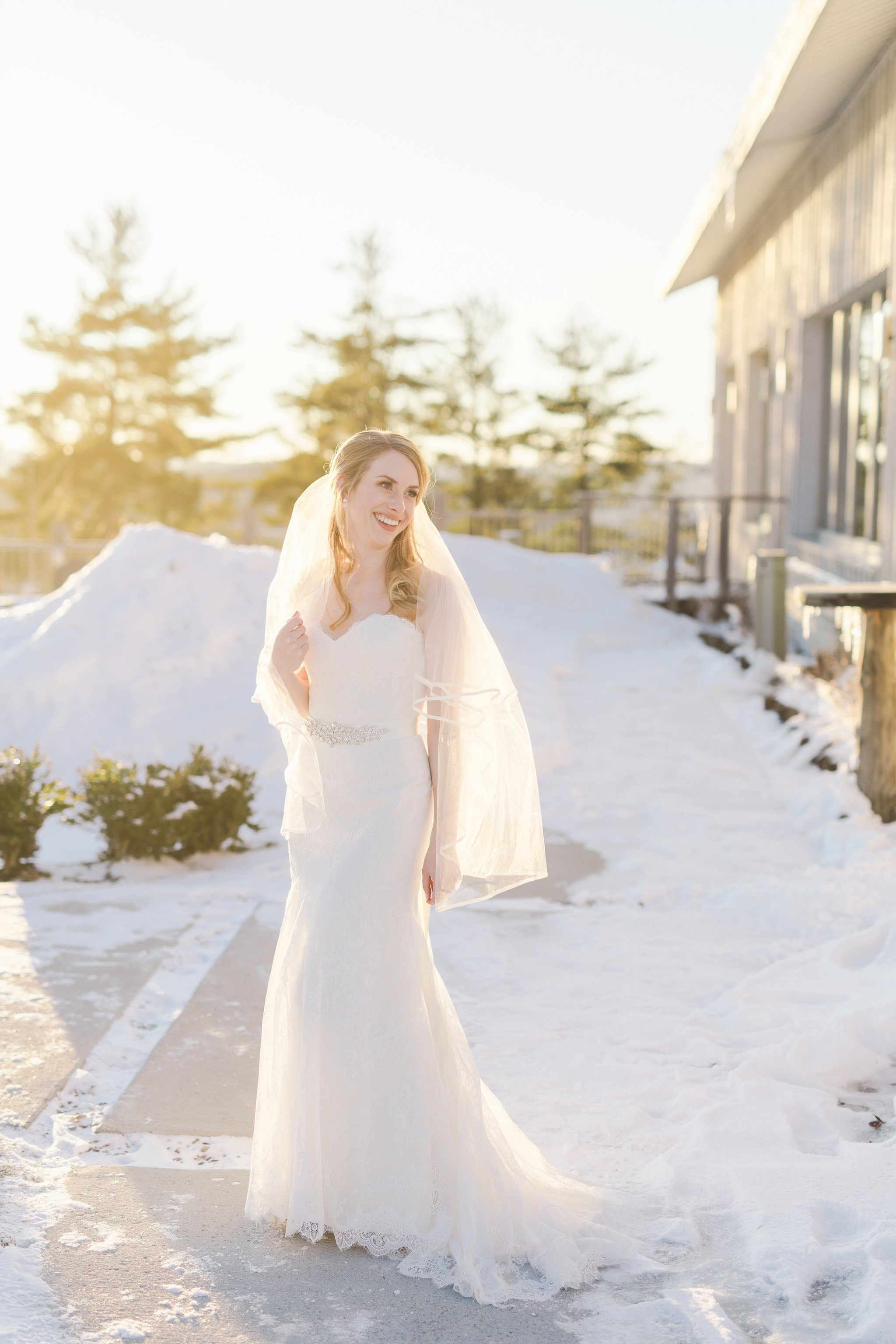 Bridal portraits at the Winter wedding at Le Belvedere
