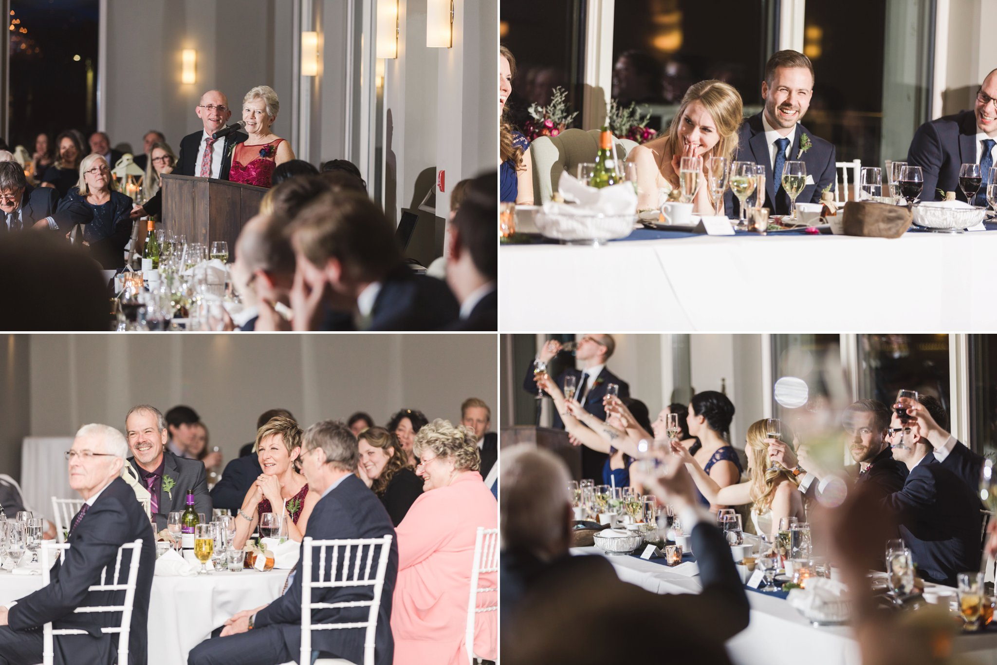Toasts and speeches at the Winter wedding at Le Belvedere