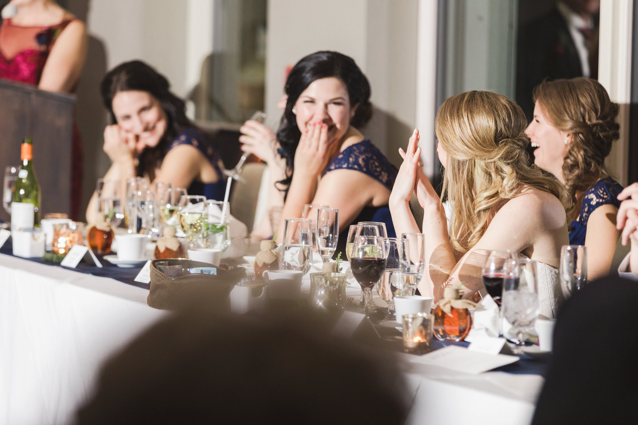 Hilarious toasts at the Winter wedding at Le Belvedere
