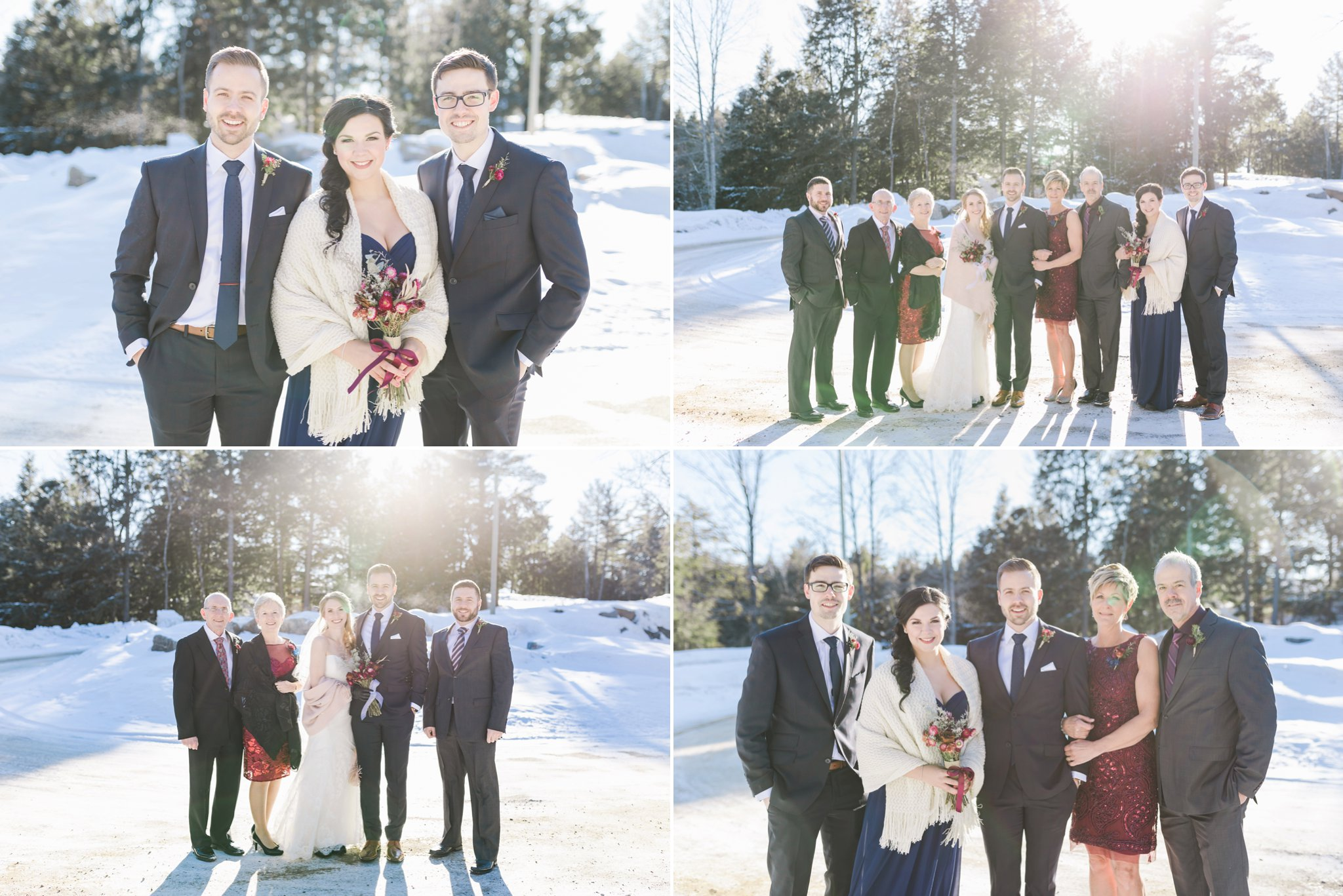 Family formals at the Winter wedding at Le Belvedere