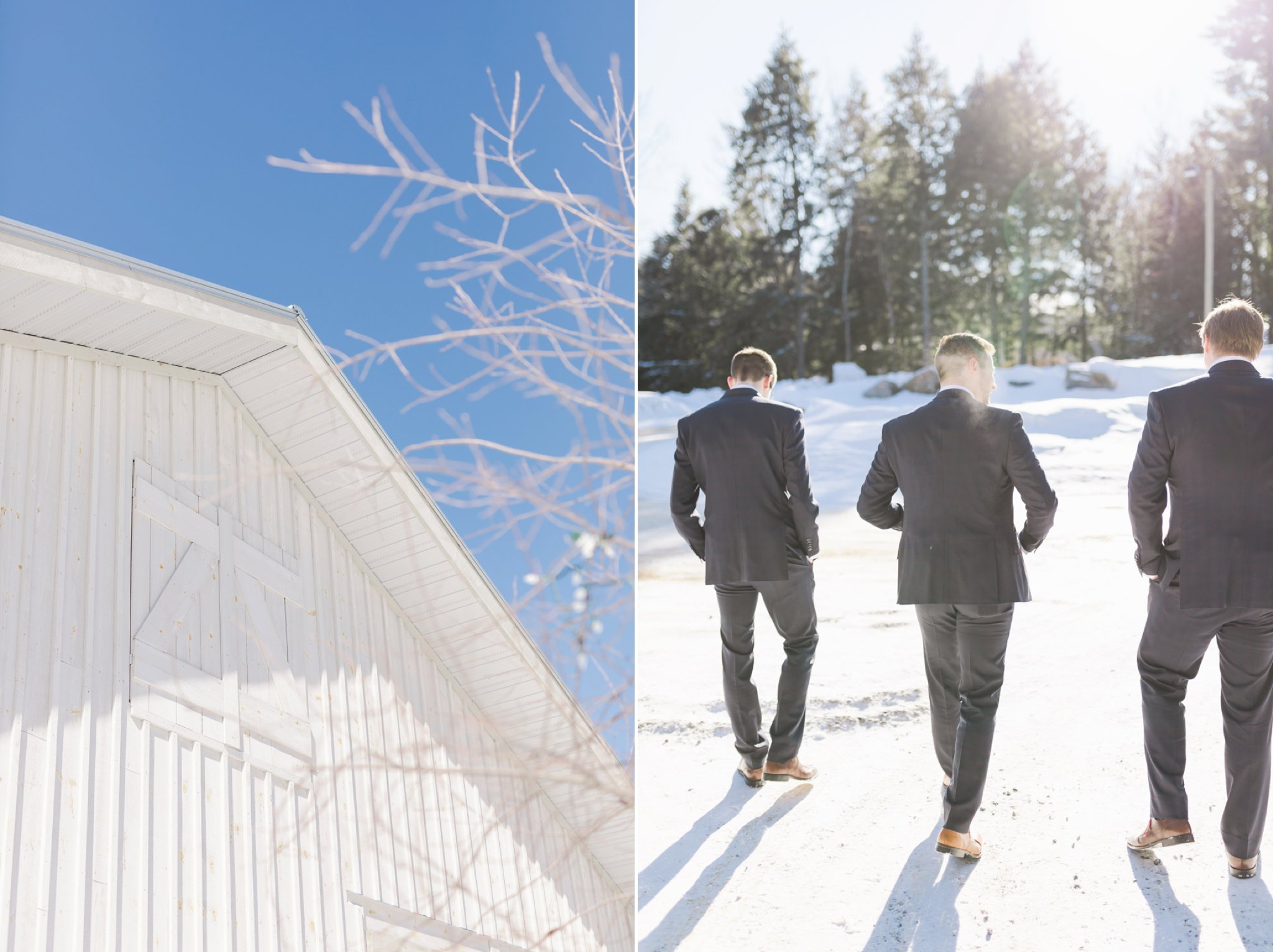 Guys walk to the ceremony at the Winter wedding at Le Belvedere