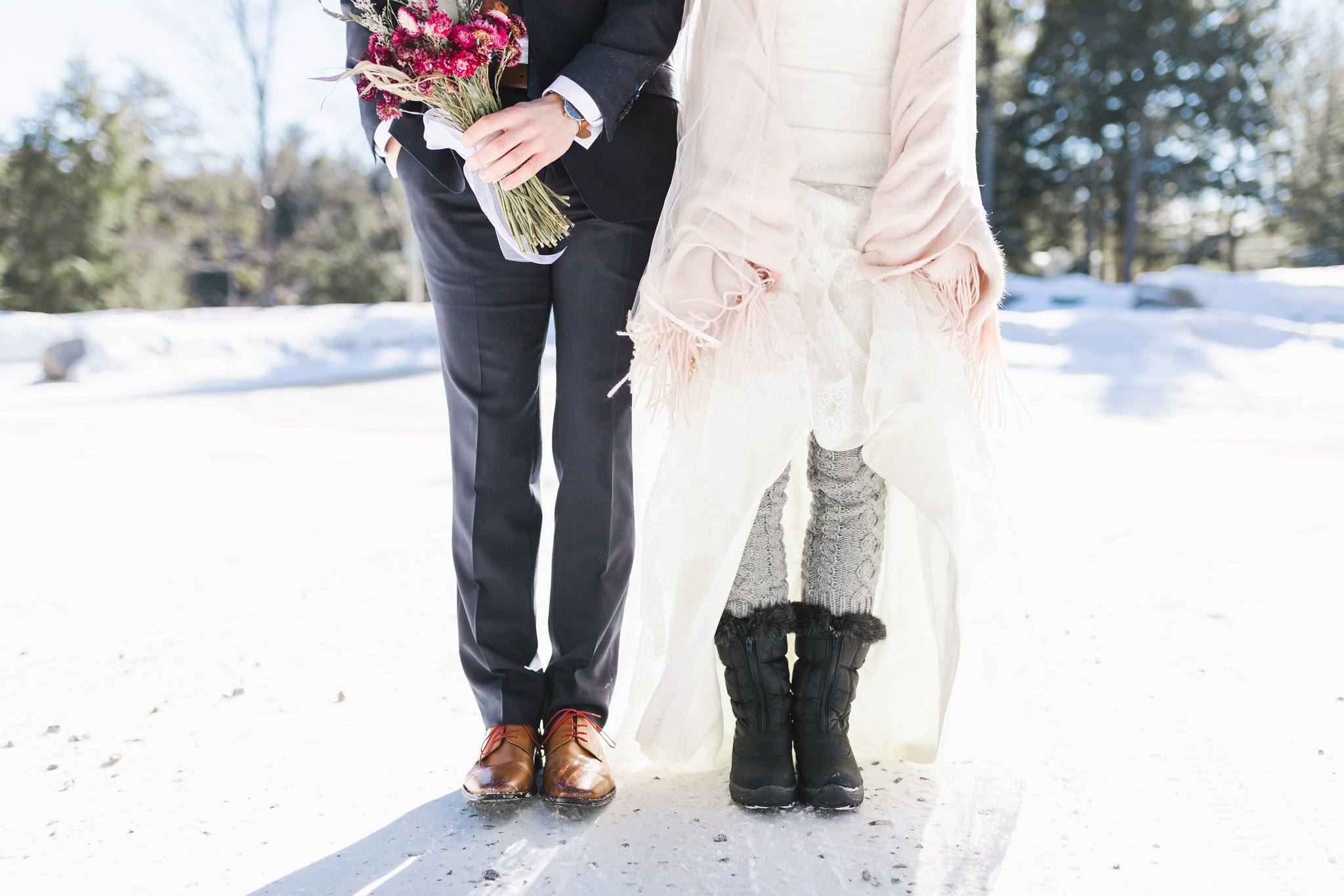 How the bride kept warm at the Winter wedding at Le Belvedere