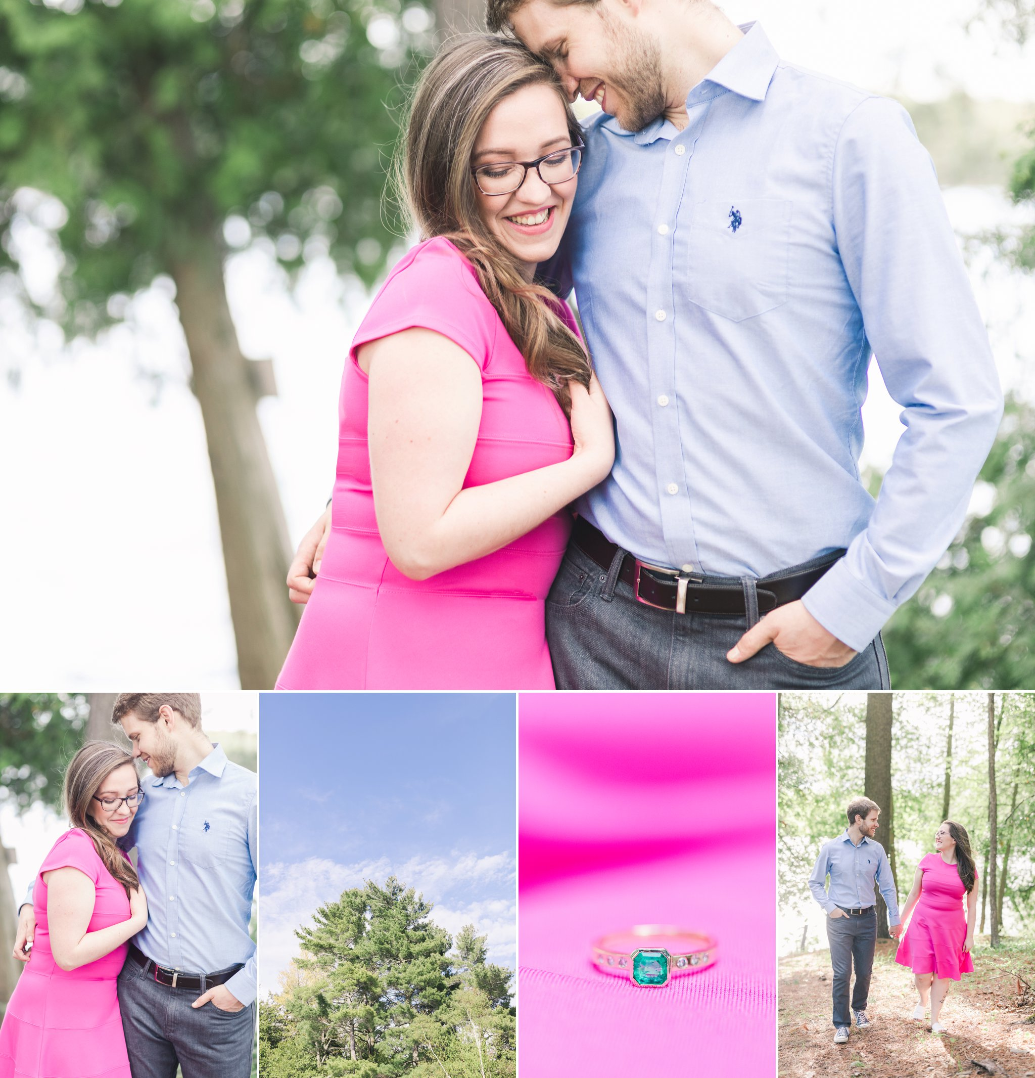 Pink engagement outfit at their engagement session at the cottage