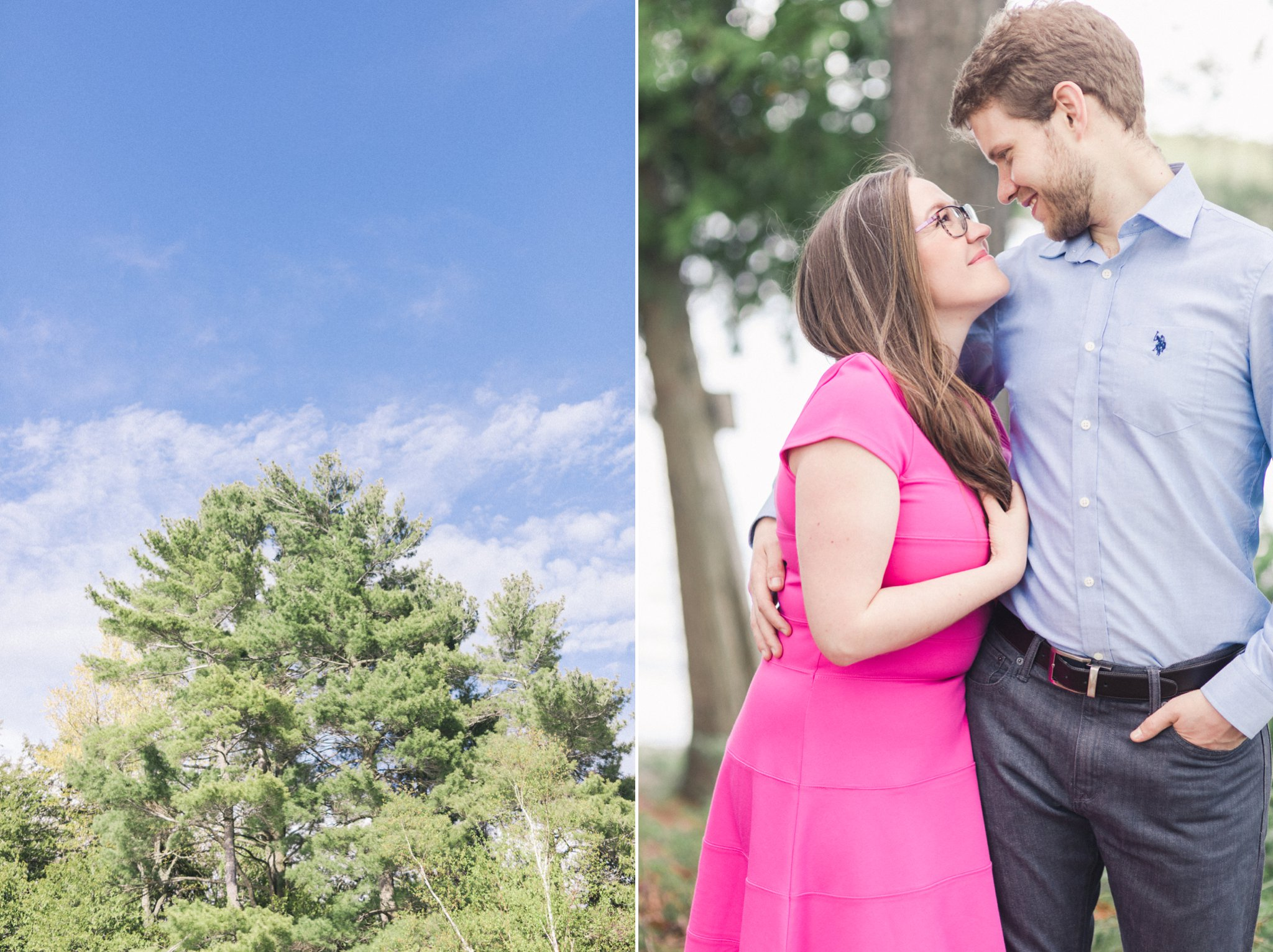 Blue skies and happy guys at their engagement session at the cottage