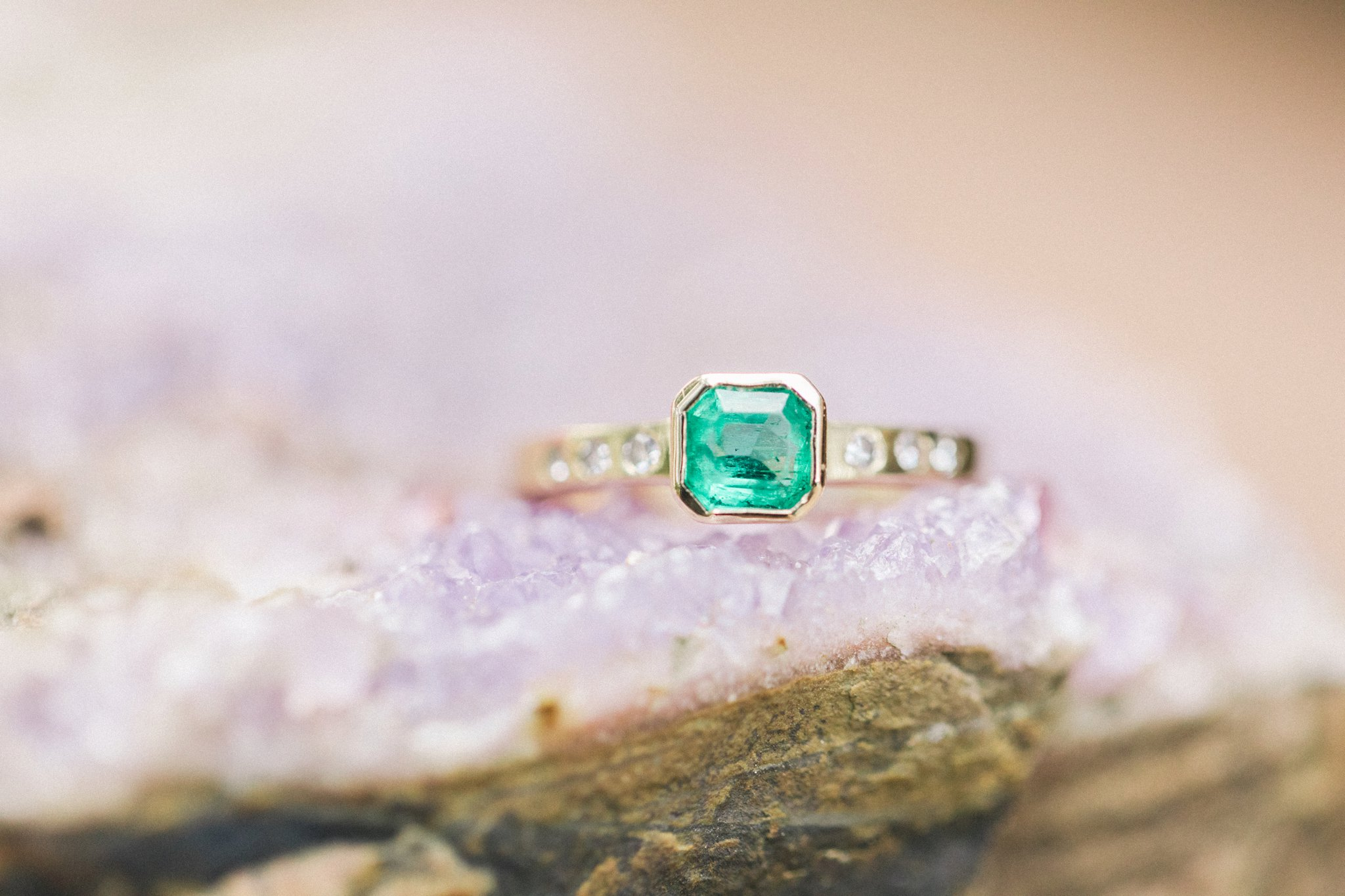 Green Sapphire at their engagement session at the cottage