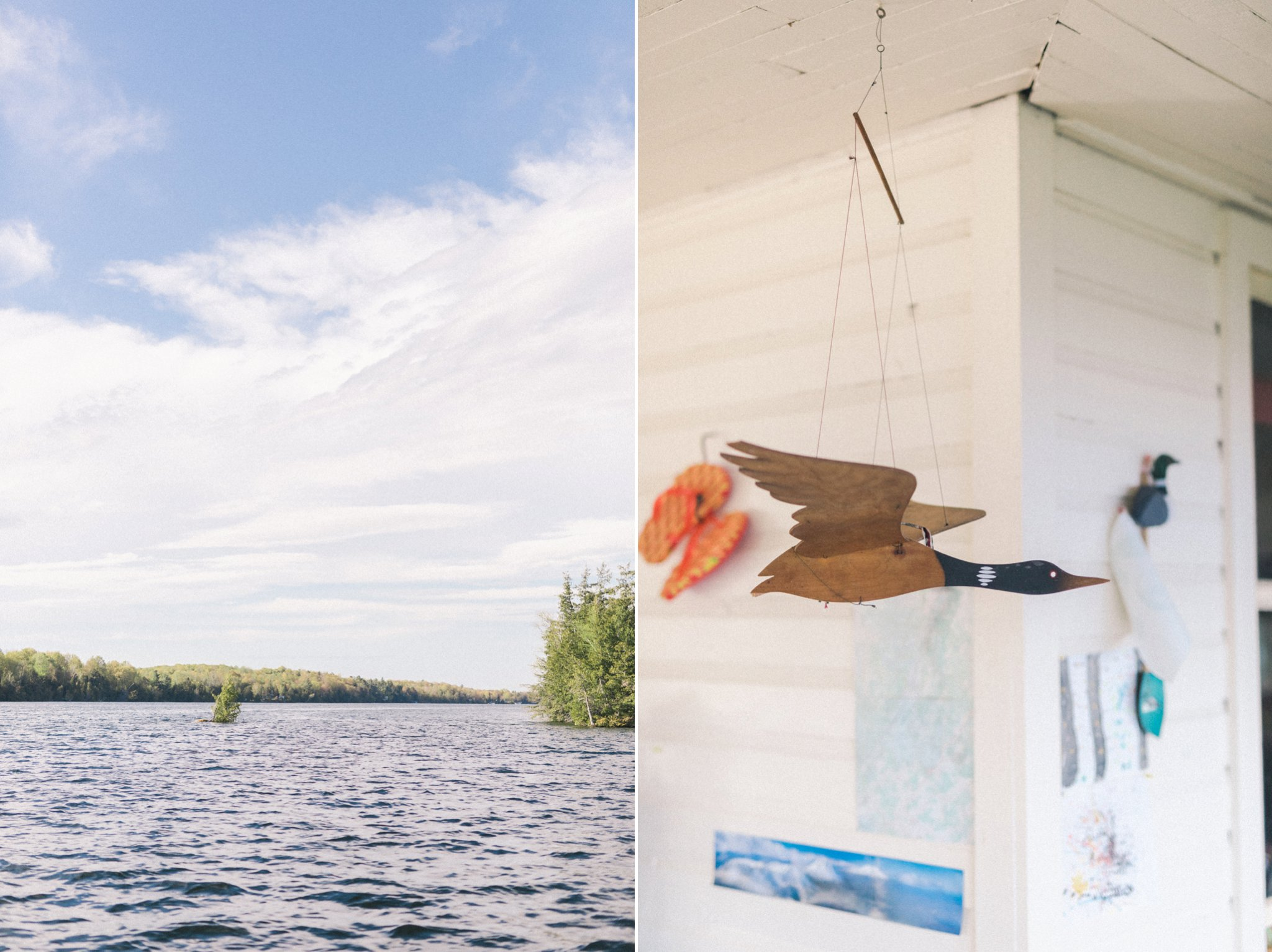 Waterfront property at their engagement session at the cottage